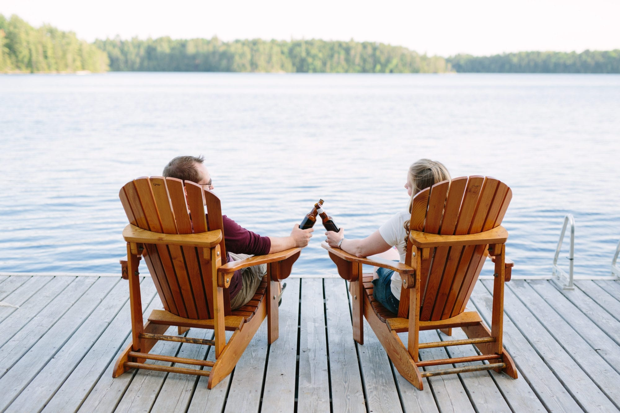 Deck Muskoka Chairs Engagement Zsuzsi Pal Photography