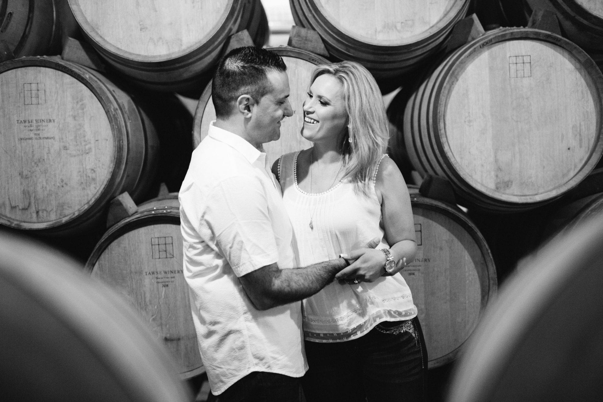 Cellar Black and White Tawse Winery Engagement Zsuzsi Pal Photography