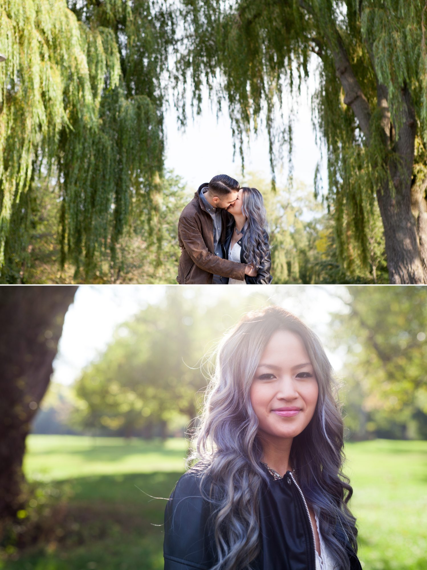 Willow Trees Sunlight Toronto Island Engagement Shoot Zsuzsi Pal Photography