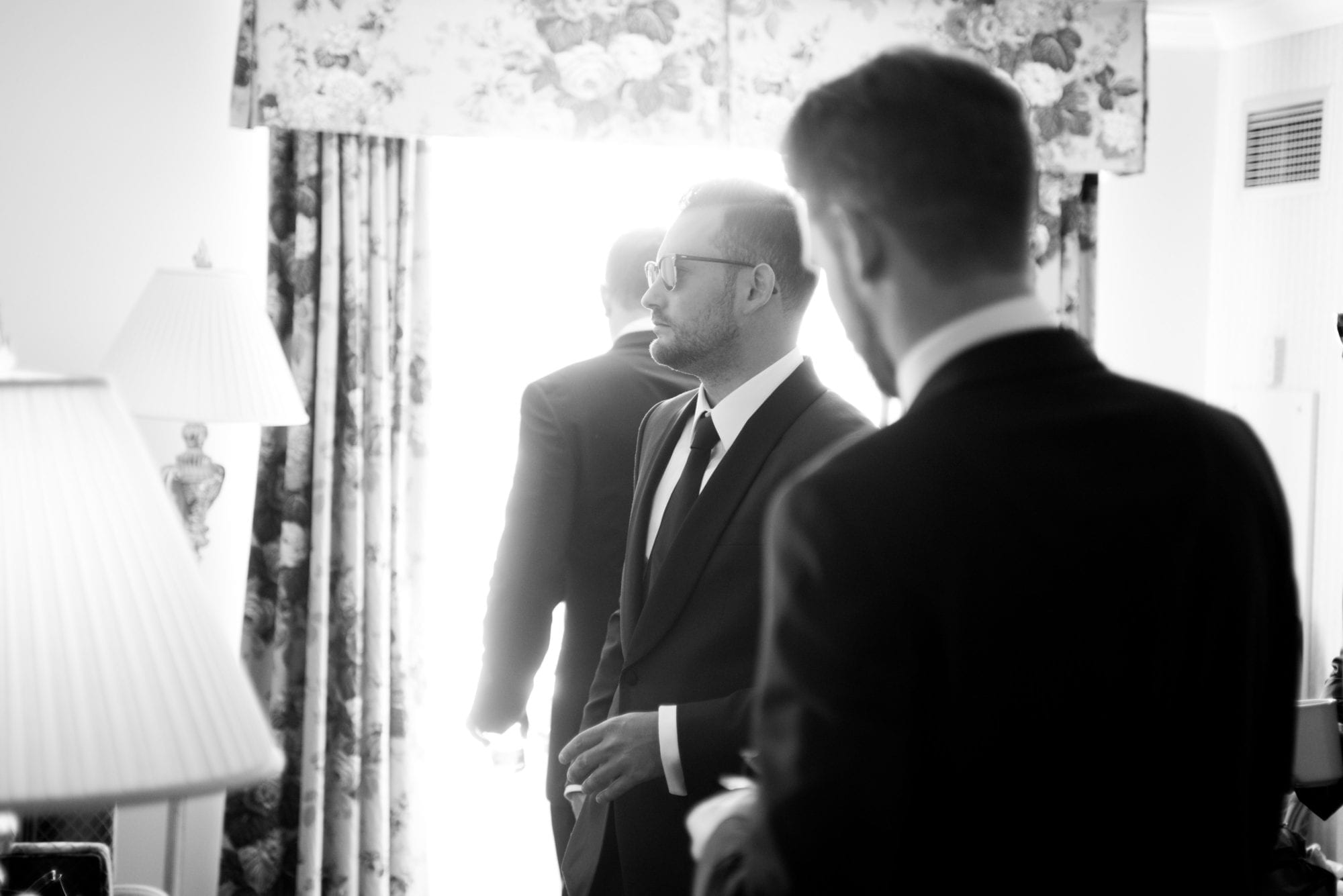 Groom Black and White Legends Winery Wedding Zsuzsi Pal Photography