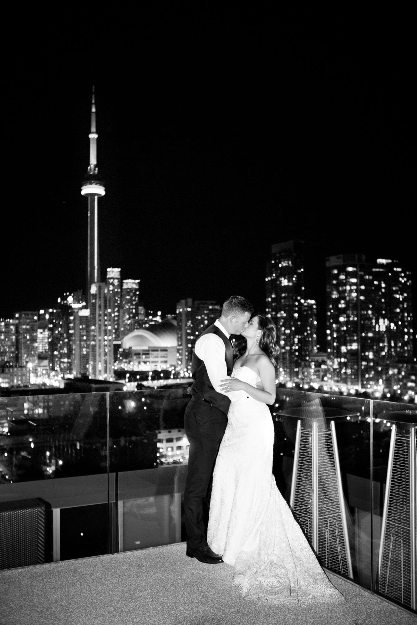 Night CN Tower Kiss Black and White Zsuzsi Pal Photography Toronto Wedding