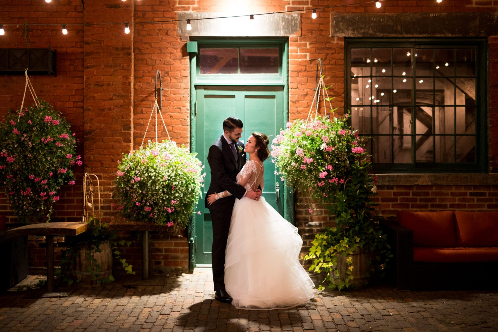 Bride Groom Night Shot Brick Wall Distillery District Archeo Bistro Toronto Wedding Zsuzsi Pal Photography