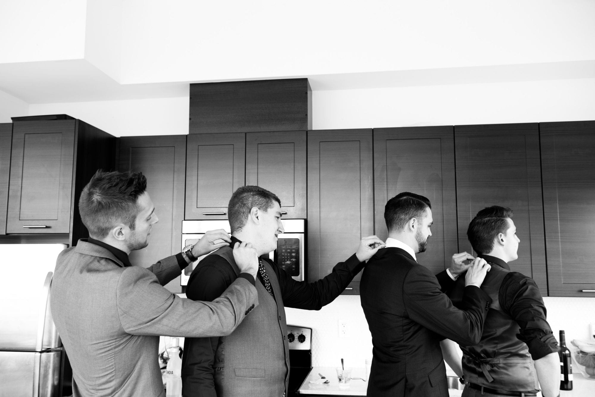 Groomsmen Wedding party Prep Toronto Wedding Zsuzsi Pal Photography Black and White