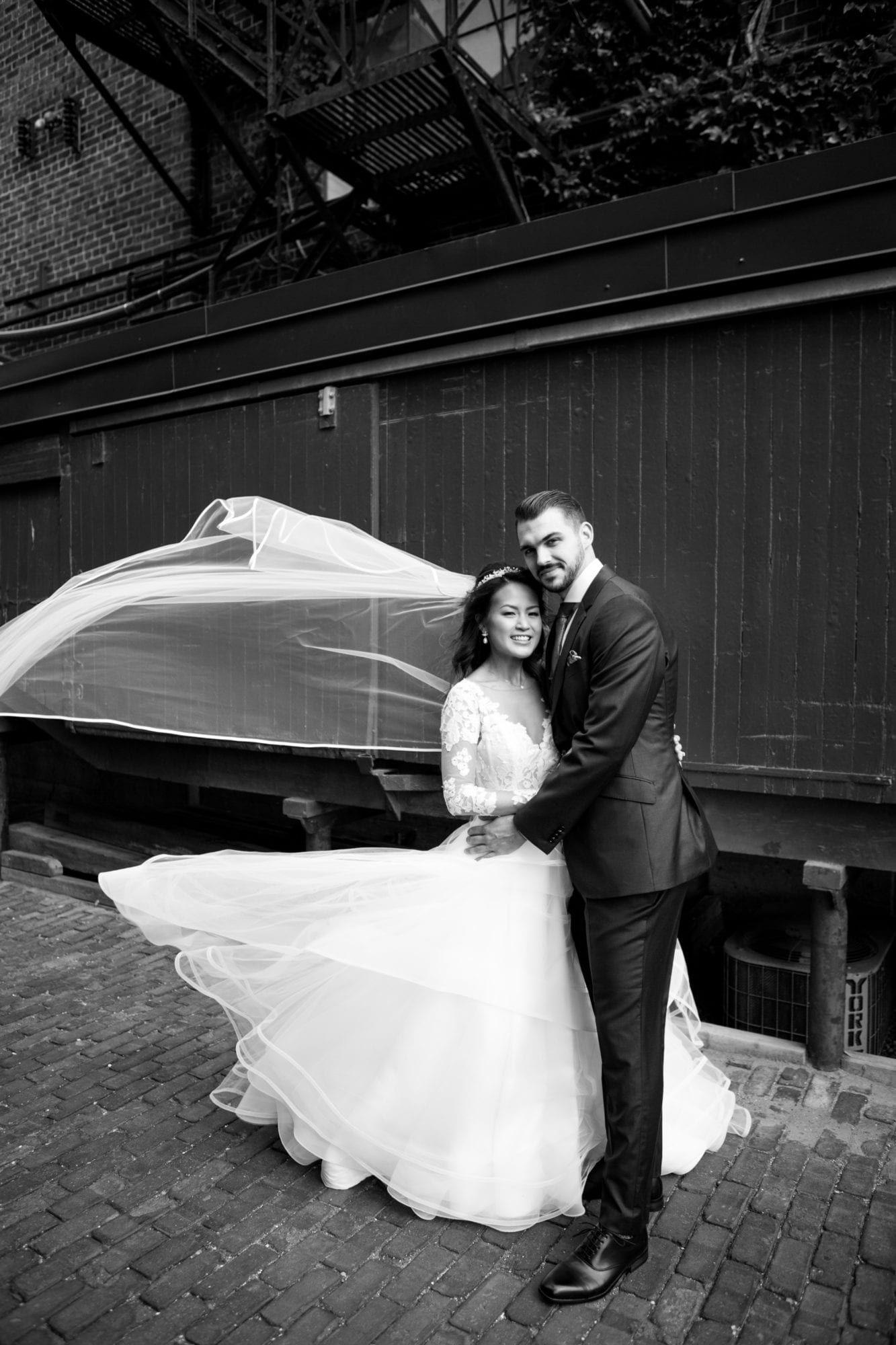 Bride Groom Portrait Distillery District Toronto Wedding Zsuzsi Pal Photography Black and White
