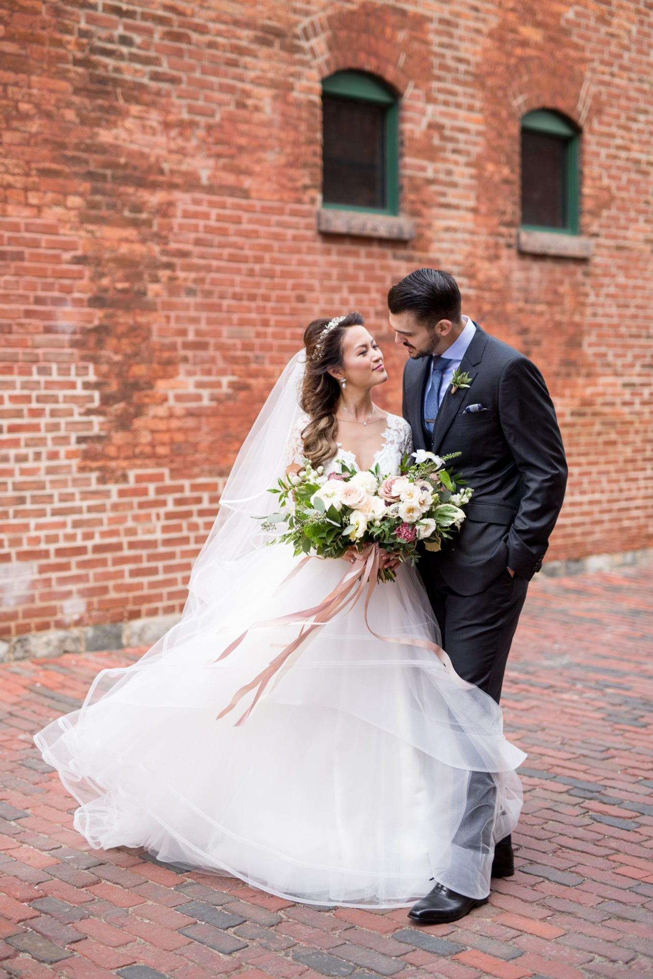 Newlyweds Bride Groom Brick Toronto Wedding Zsuzsi Pal Photography Distillery District