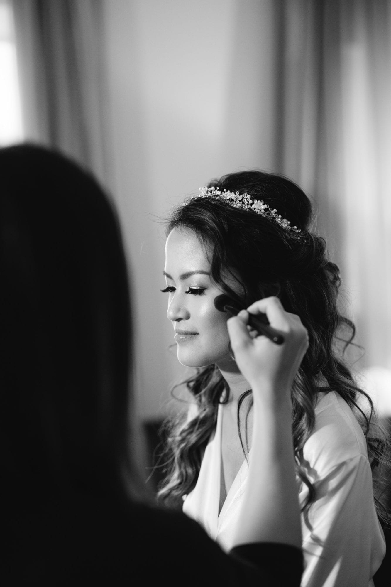 Bride Preparation Makeup Black and White Toronto Wedding Zsuzsi Pal Photography