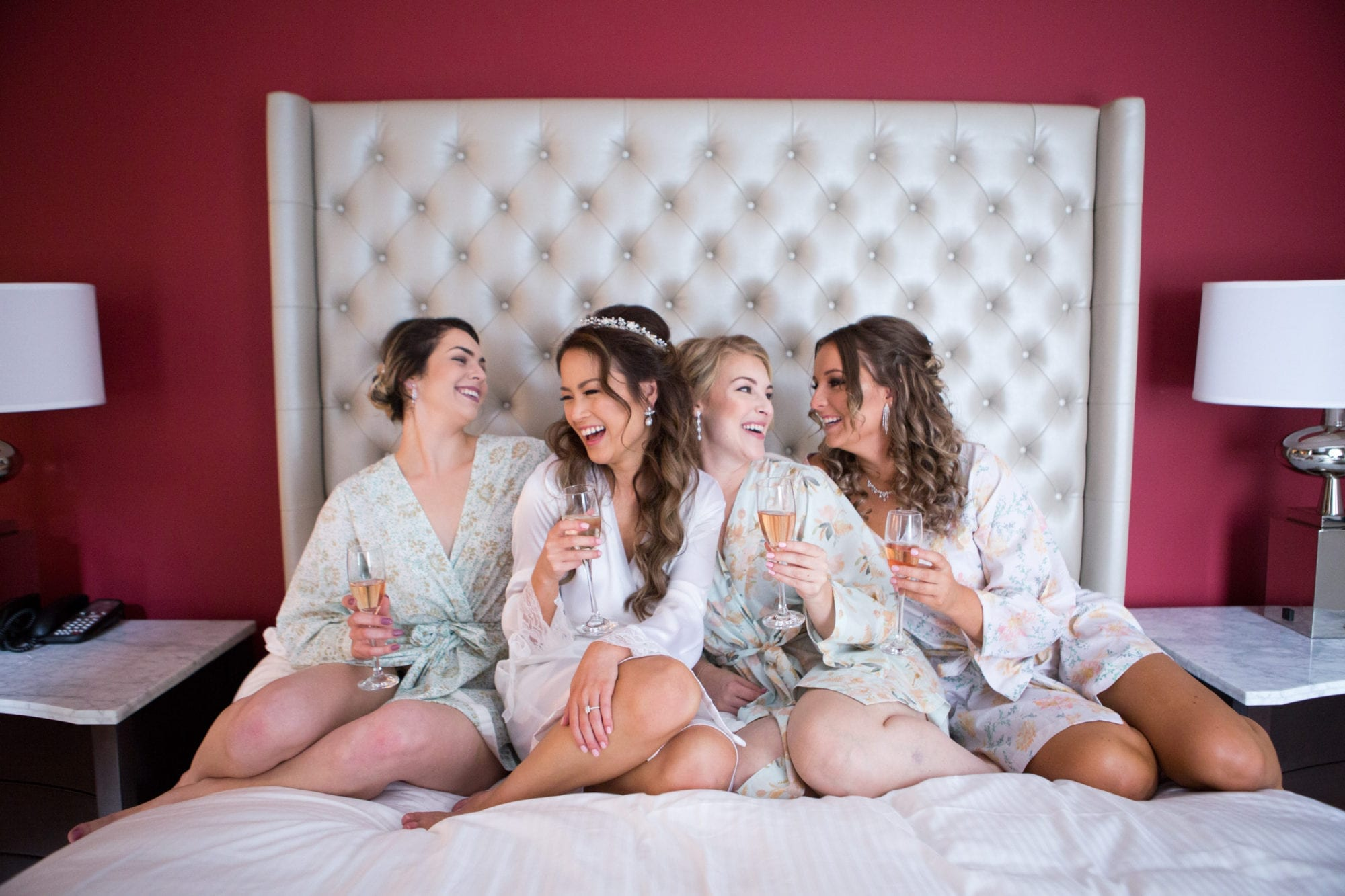 Bridesmaids Bed Hotel Toronto Wedding Zsuzsi Pal Photography
