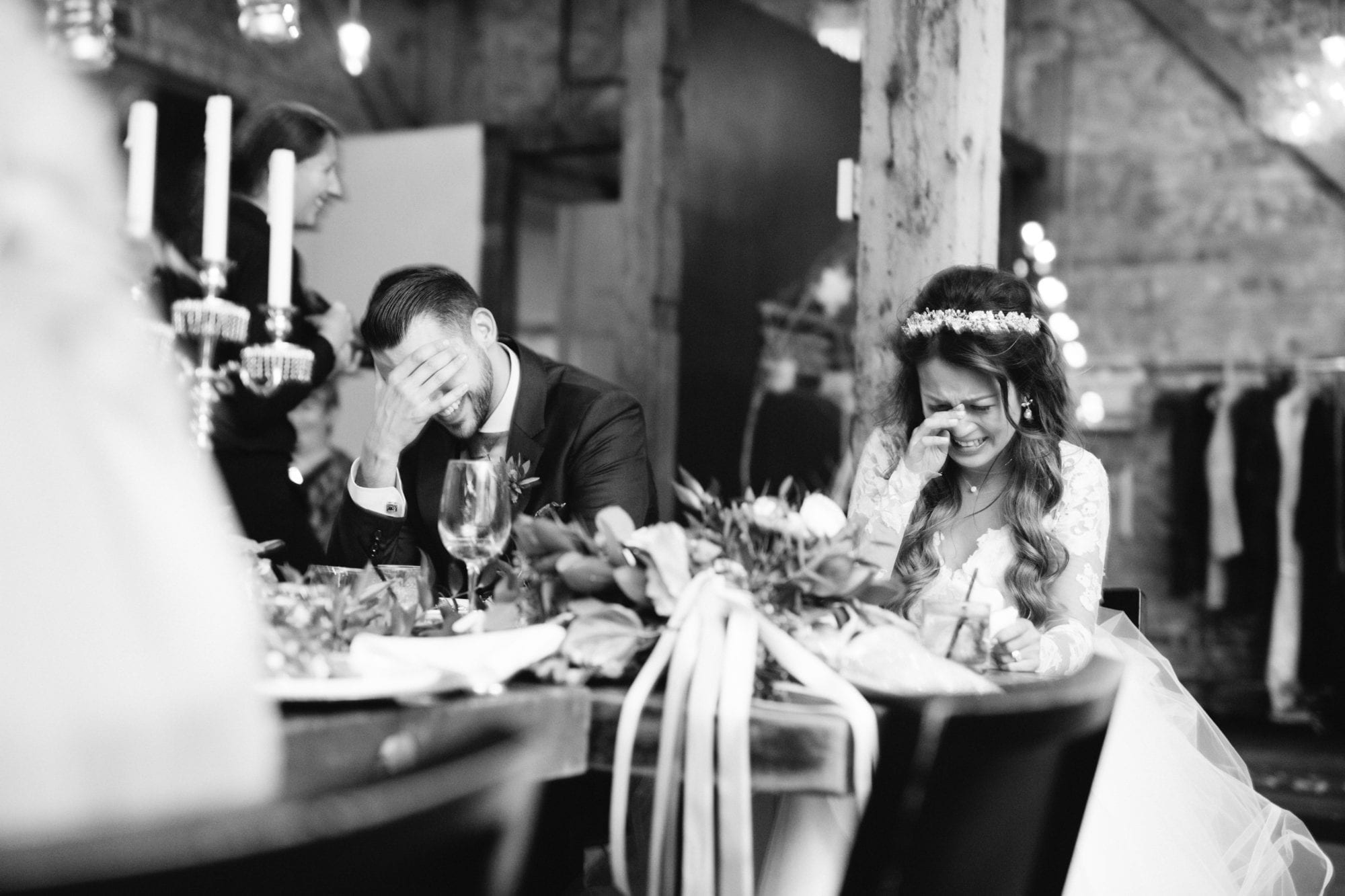 Bride Groom Laugh Black and White Toronto Wedding Zsuzsi Pal Photography