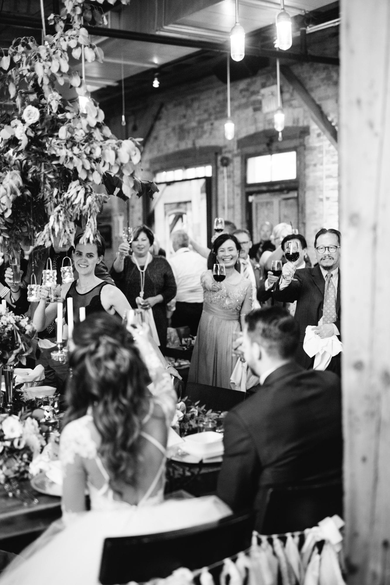 Cheers Toast Guests Toronto Wedding Zsuzsi Pal Photography