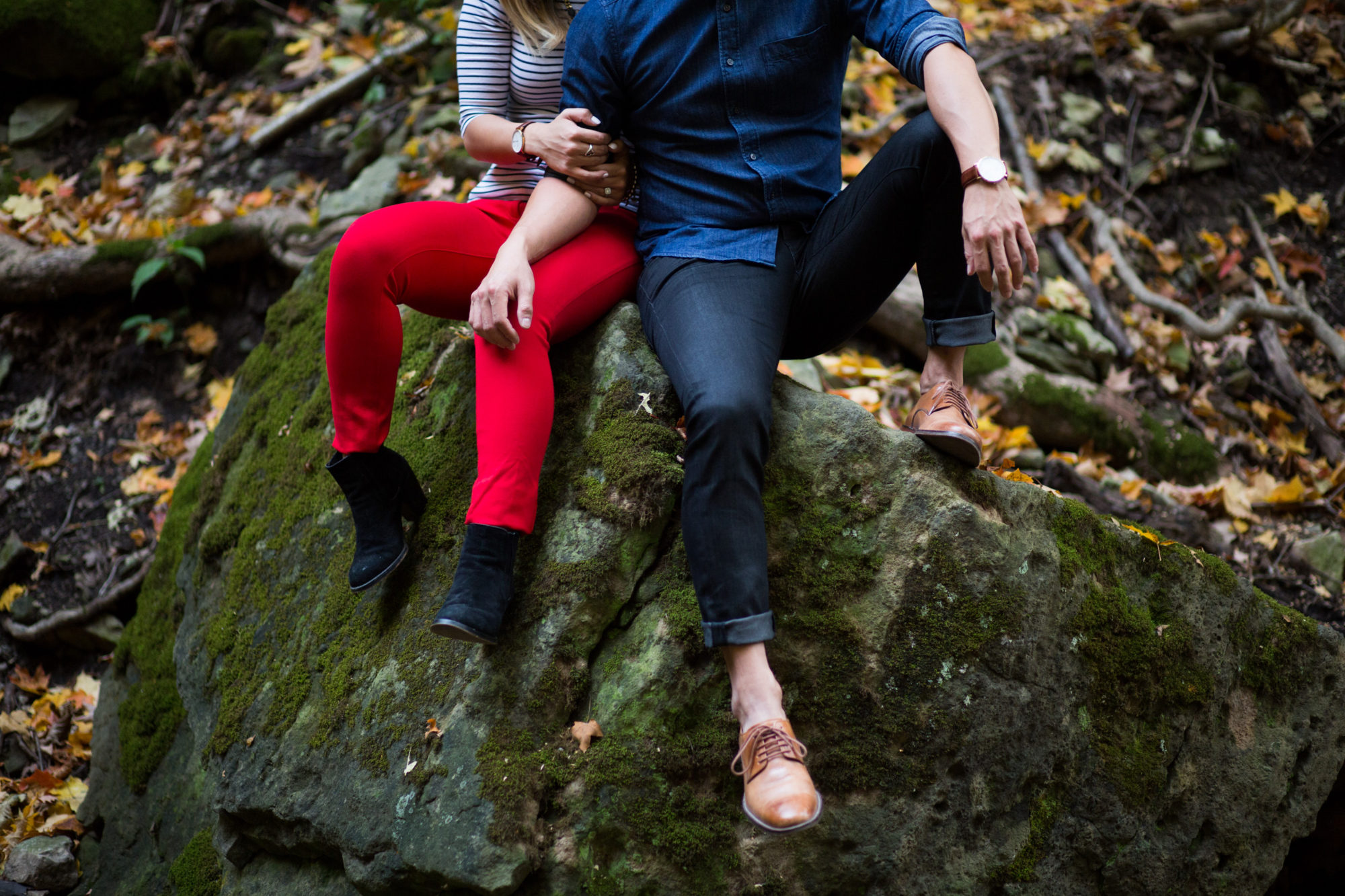 Red Pants Couple Engagement Shoot Tiffany Falls Waterfall Zsuzsi Pal Photography