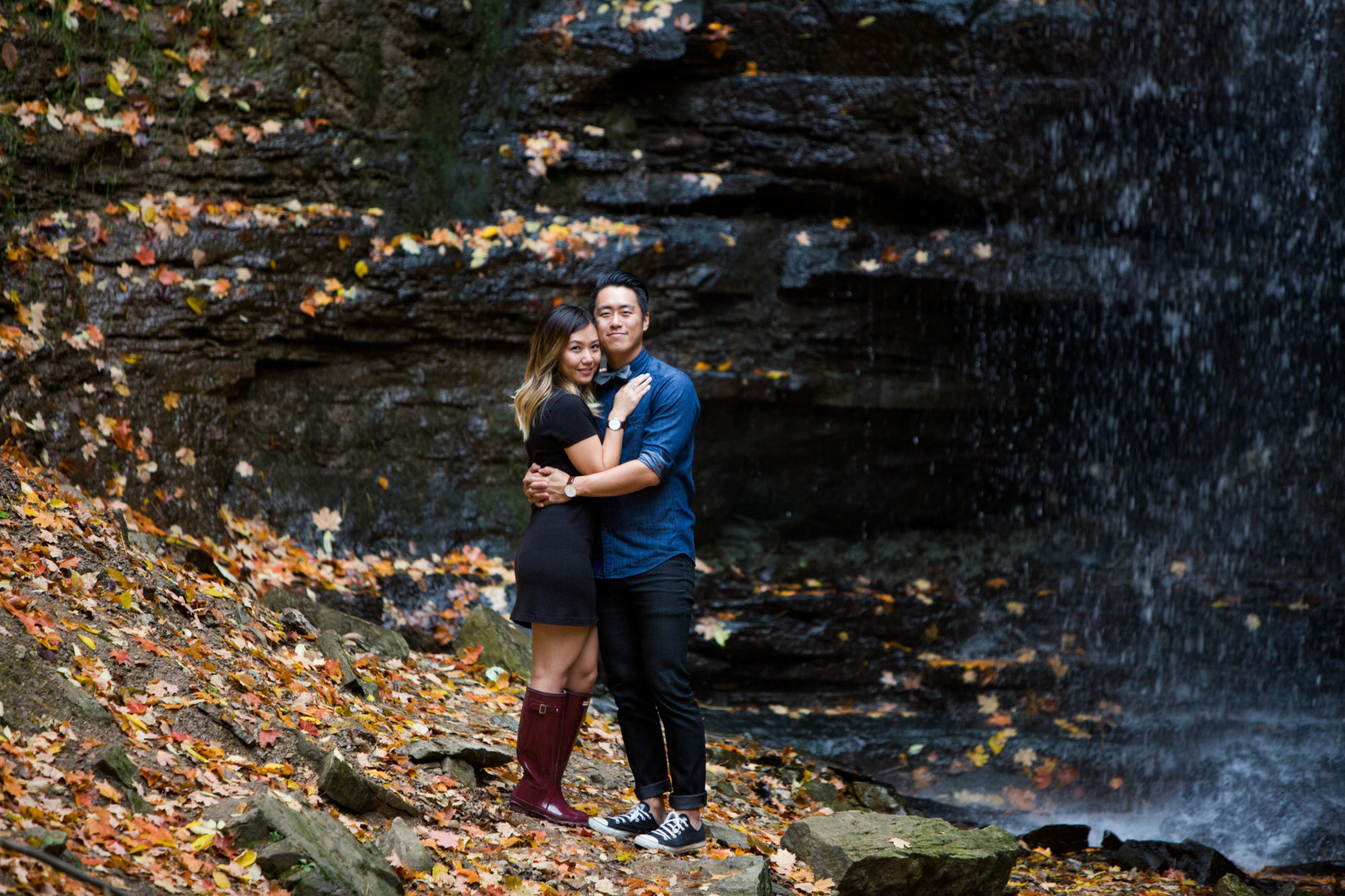 Couple Embrace Engagement Shoot Tiffany Falls Waterfall Zsuzsi Pal Photography