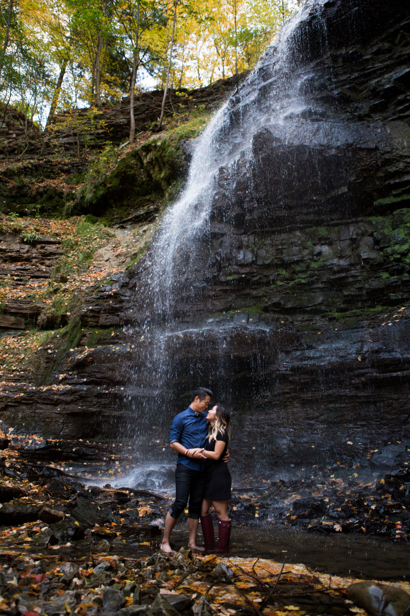 Waterfall Couple Engagement Shoot Tiffany Falls Waterfall Zsuzsi Pal Photography