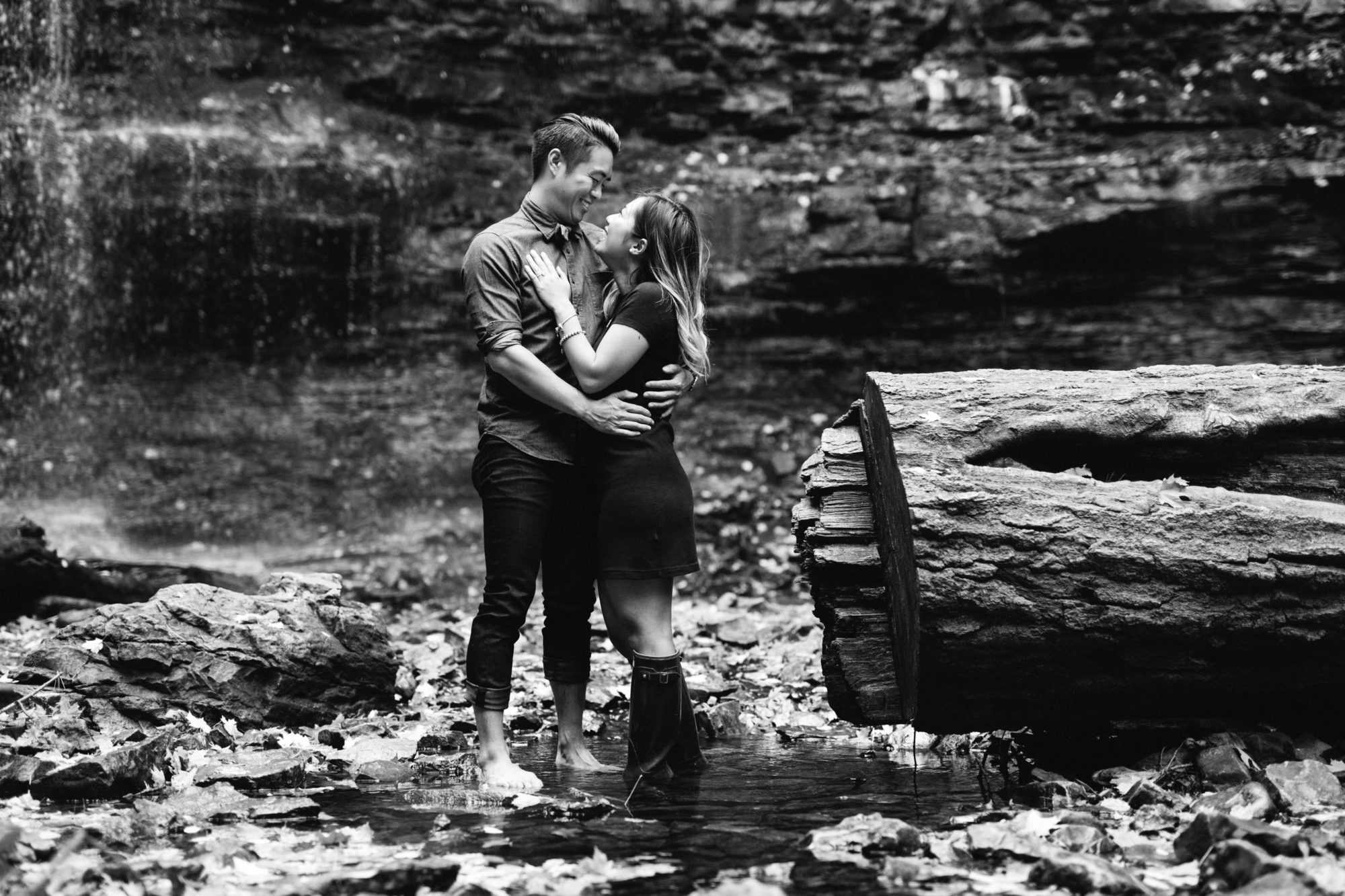 Couple Love Black and White Engagement Shoot Tiffany Falls Waterfall Zsuzsi Pal Photography