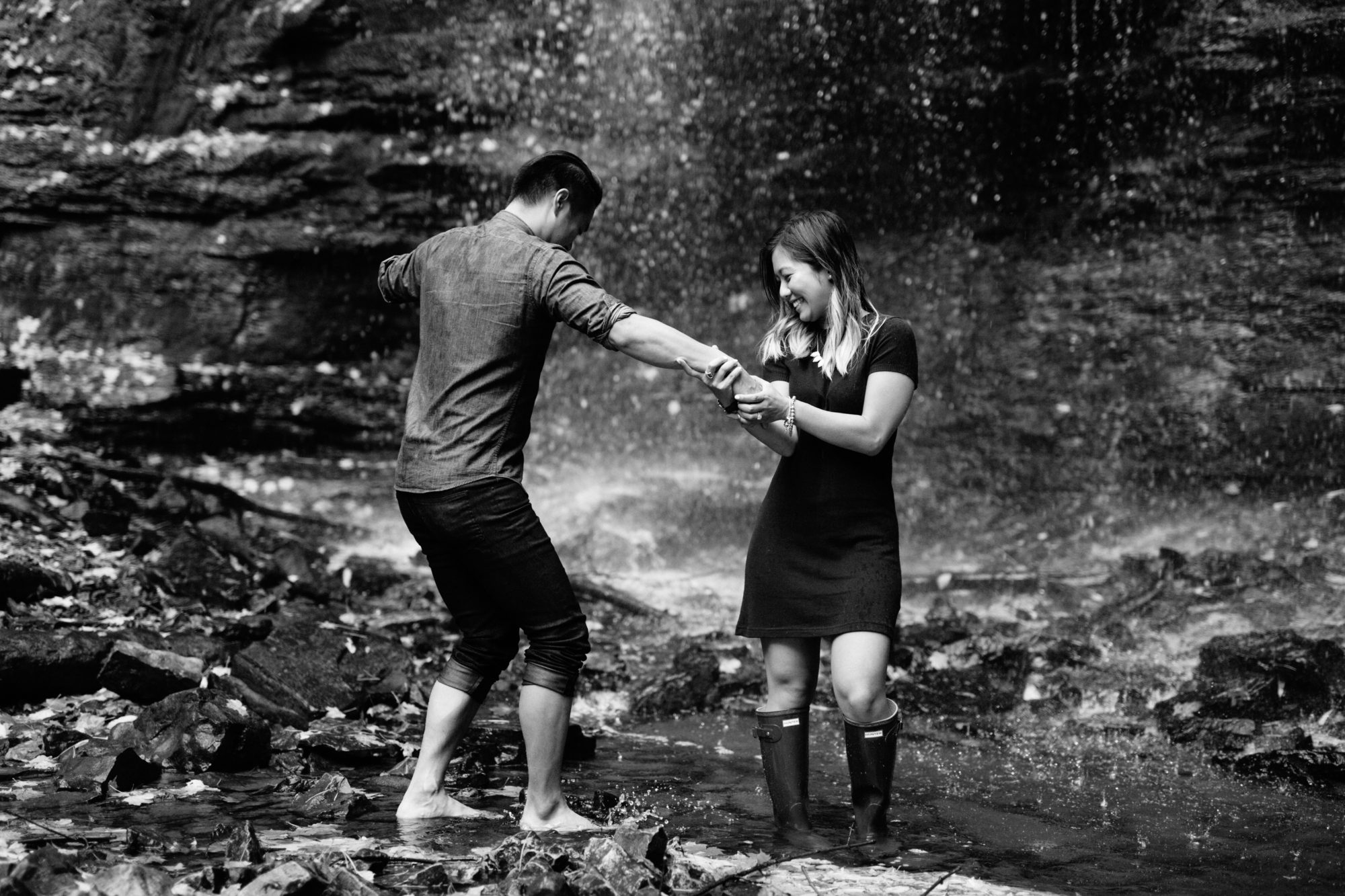 Black and White Couple Fun Engagement Shoot Tiffany Falls Waterfall Zsuzsi Pal Photography