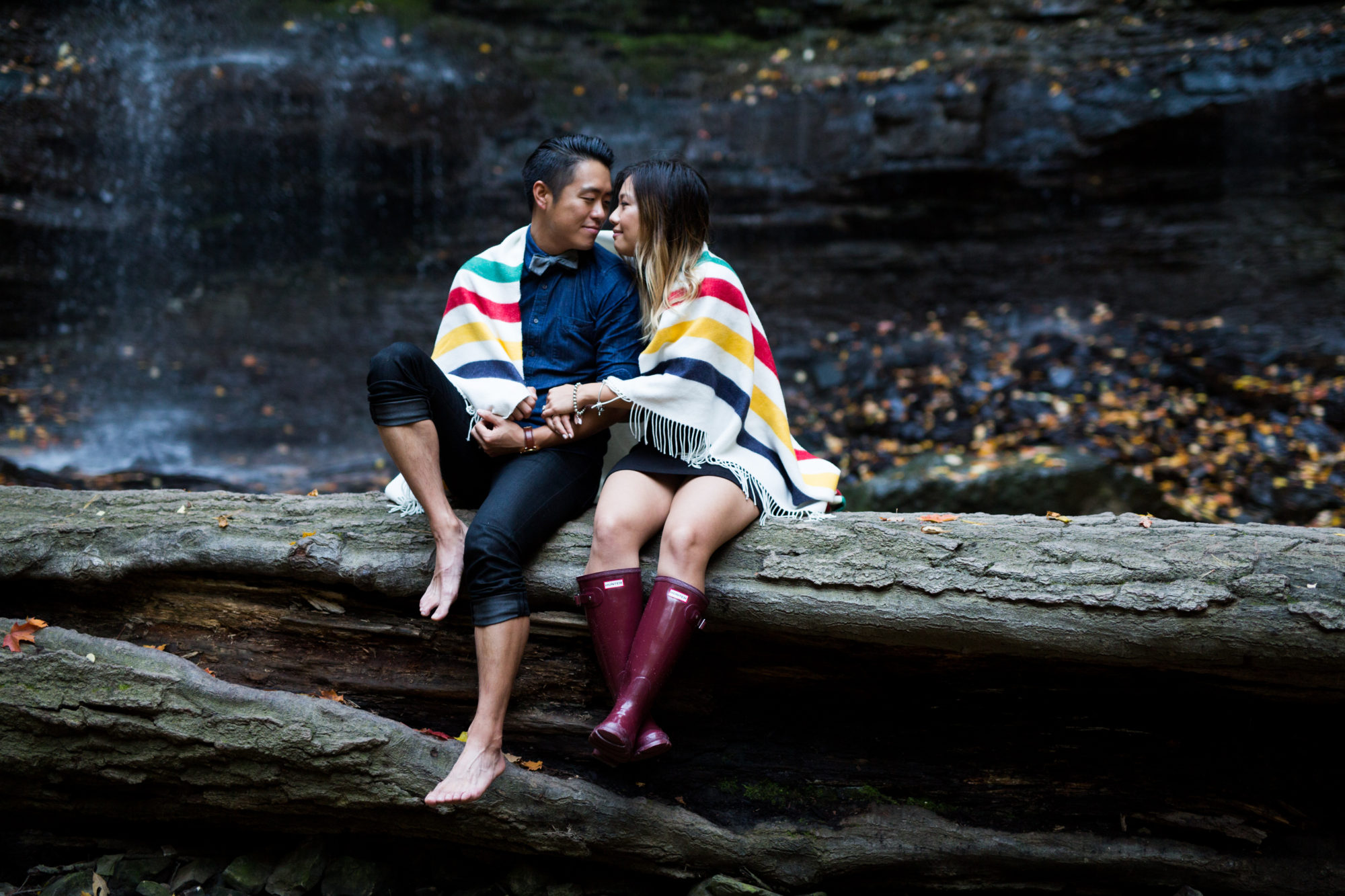 Hudson's Bay Blanket Engagement Shoot Tiffany Falls Waterfall Zsuzsi Pal Photography