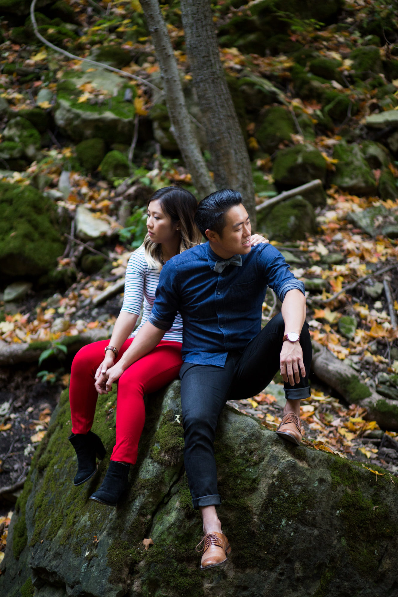 Cool Couple Sit Engagement Shoot Tiffany Falls Waterfall Zsuzsi Pal Photography