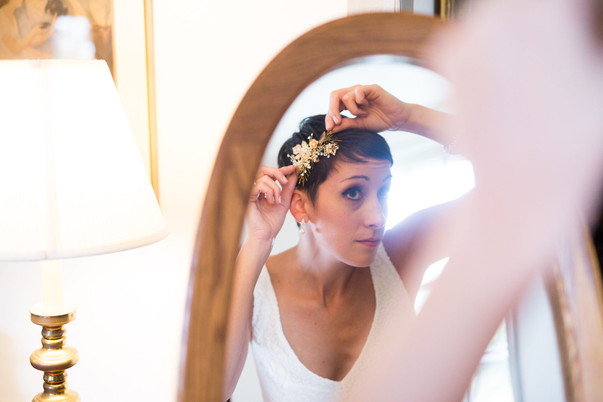 Bride Prep Mirror Wedding Massachusetts Zsuzsi Pal Photography Destination