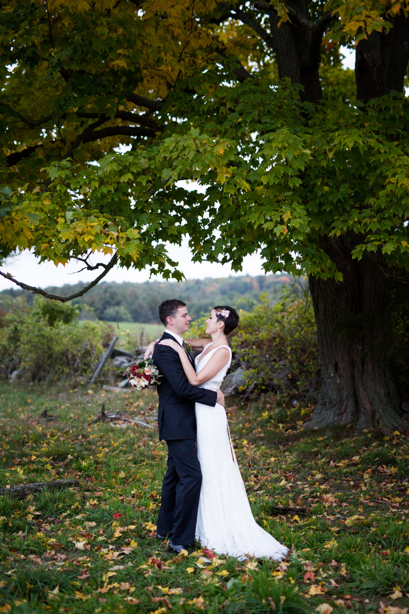 Couple Embrace Fall Wedding Massachusetts Zsuzsi Pal Photography Destination