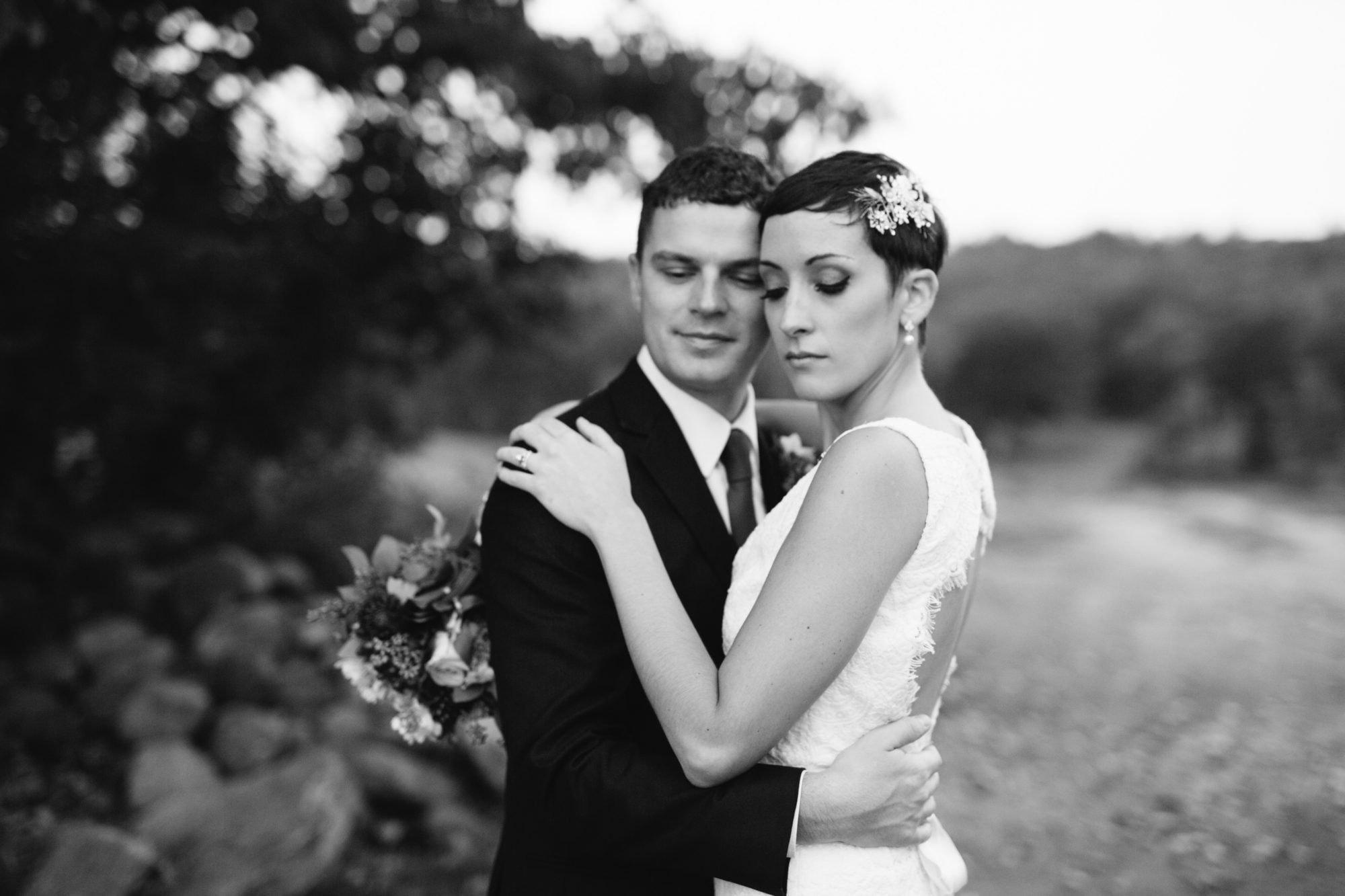 Black and White Embrace Bride Groom