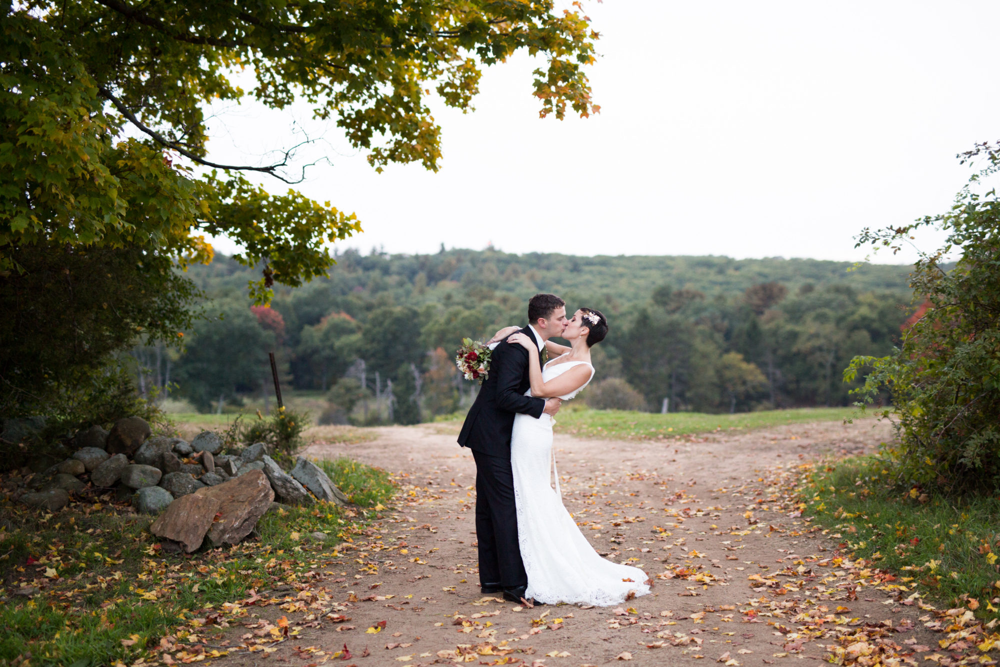 Couple Kiss Dip Wedding Massachusetts Zsuzsi Pal Photography Destination
