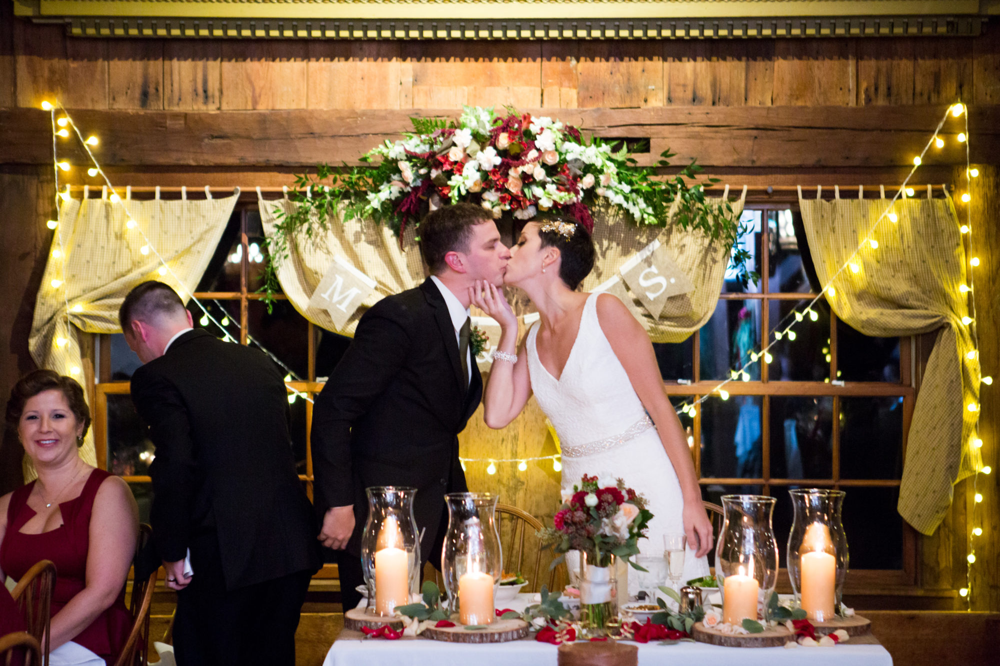 Sweetheart Head Table Kiss Wedding Massachusetts Zsuzsi Pal Photography Destination