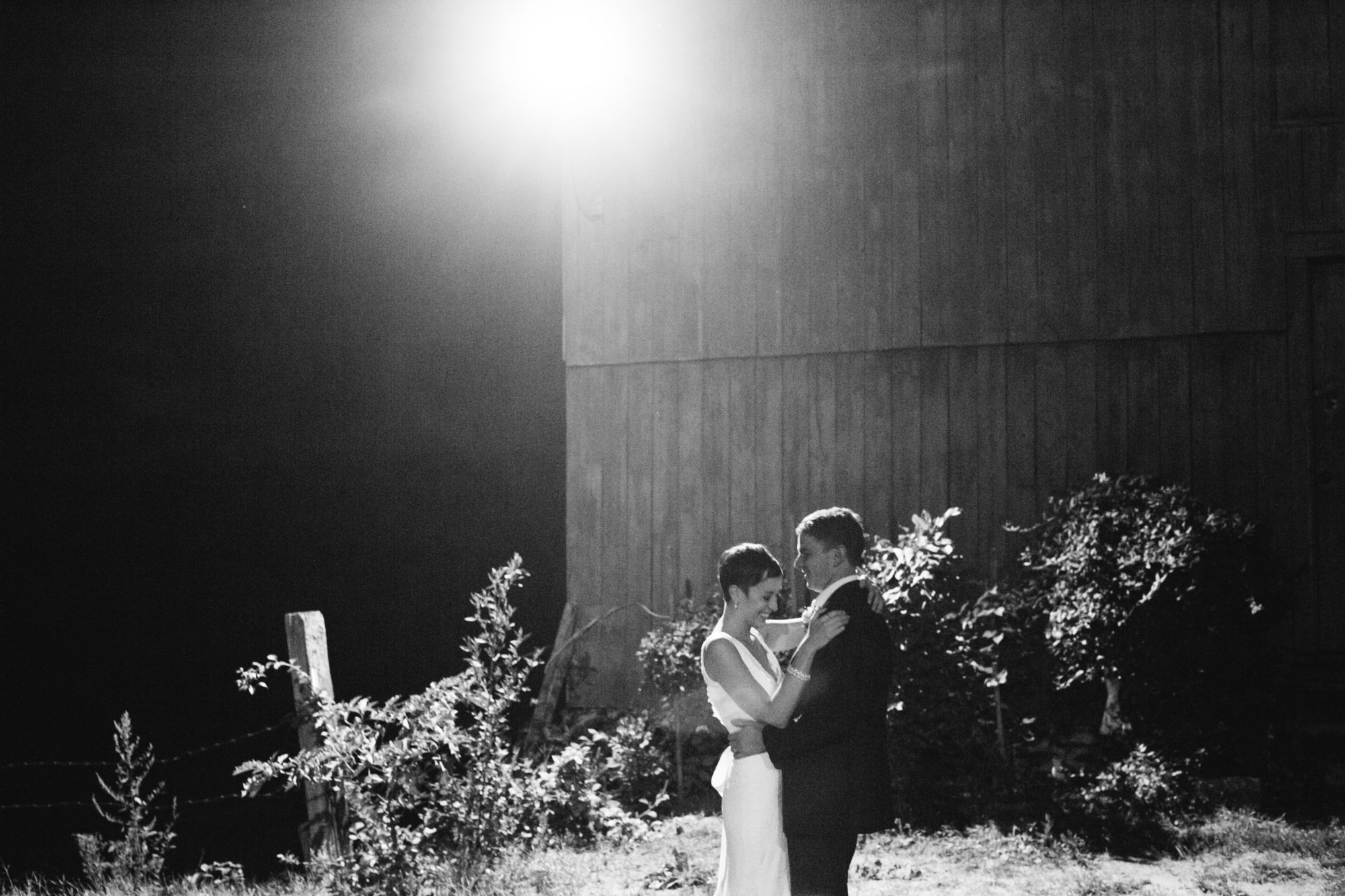 Night Shot Barn Bride Groom Black and White Wedding Massachusetts Zsuzsi Pal Photography Destination