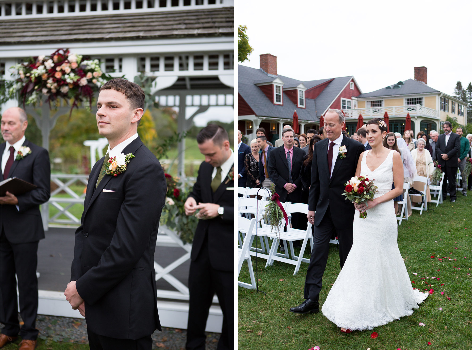 Bride Groom Ceremony Outdoor Wedding Massachusetts Zsuzsi Pal Photography Destination