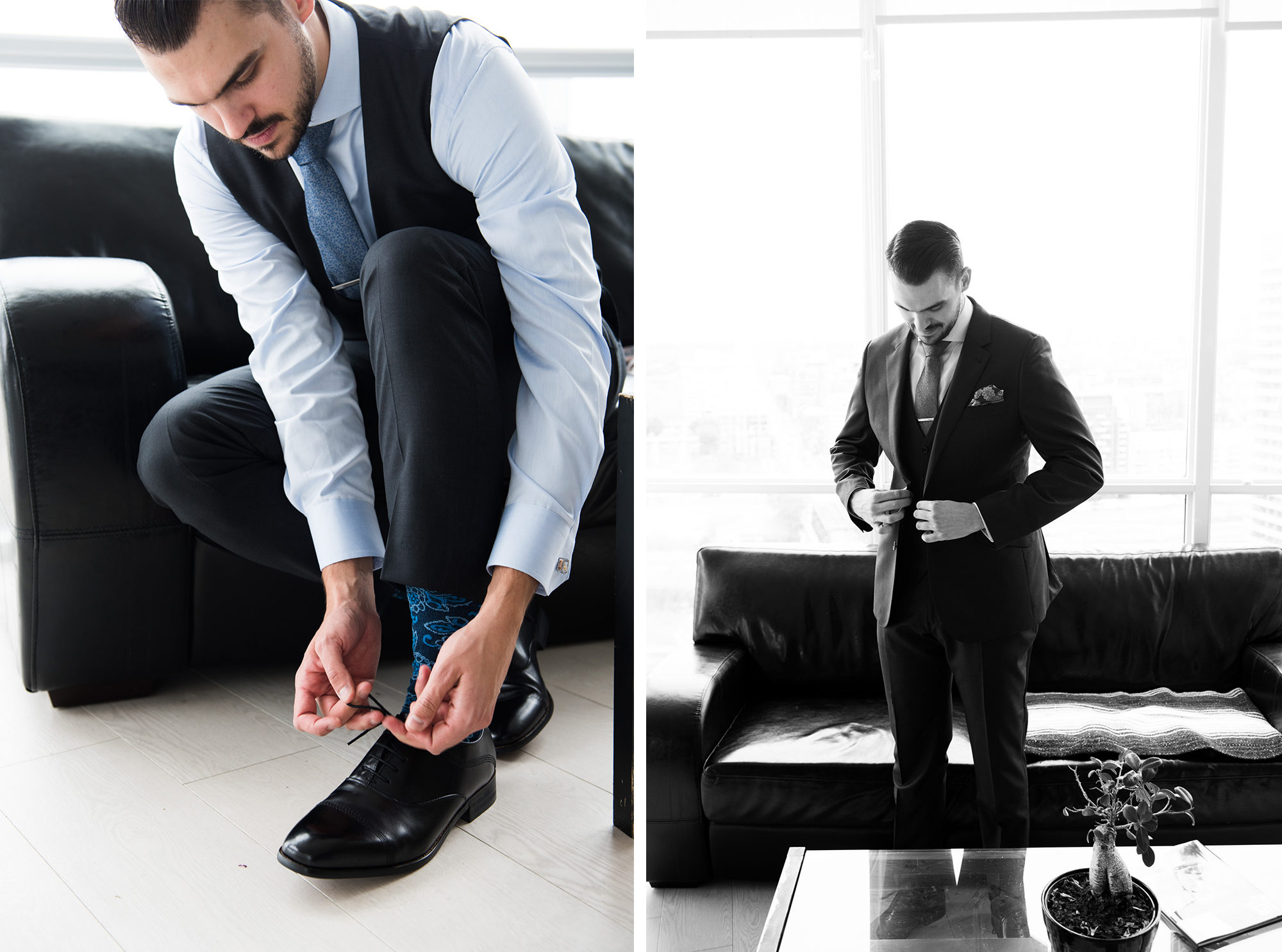 Groom details shoes black and white condo Toronto Wedding Zsuzsi Pal Photography