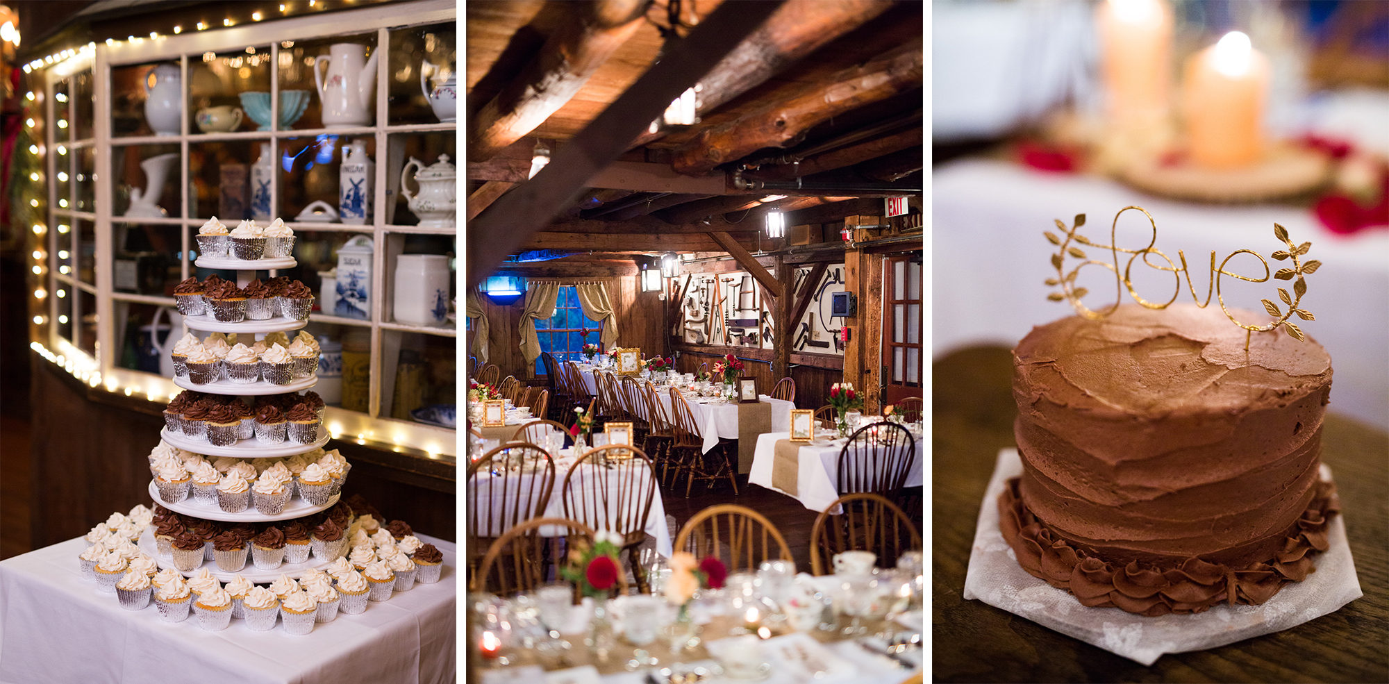 Cake Cupcakes Reception Barn Decor Wedding Massachusetts Zsuzsi Pal Photography Destination