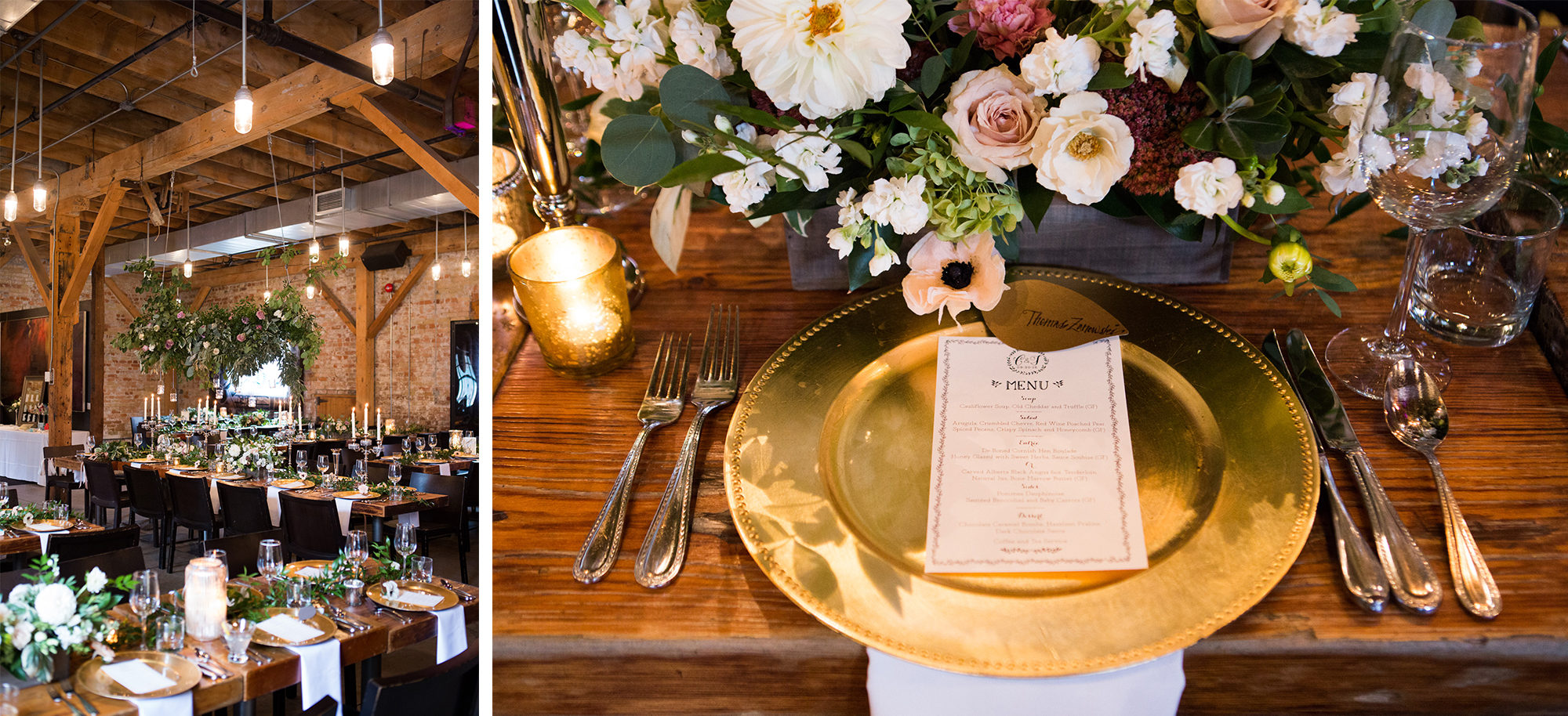 Reception Decor Gold Plate Flowers Toronto Wedding Zsuzsi Pal Photography