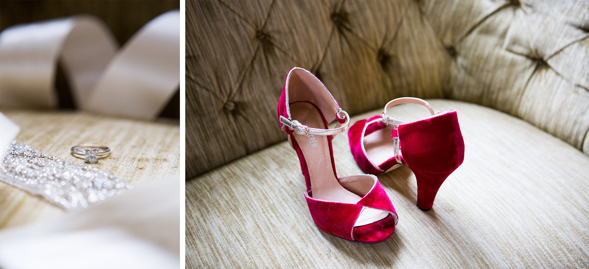 Bride Details Red Velvet Shoes Engagement Ring Wedding Massachusetts Zsuzsi Pal Photography Destination