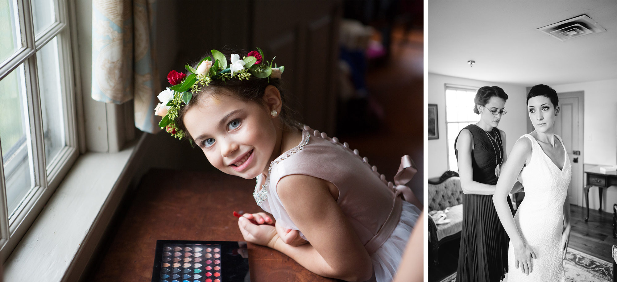 Flower Girl Bride Prep Wedding Massachusetts Zsuzsi Pal Photography Destination