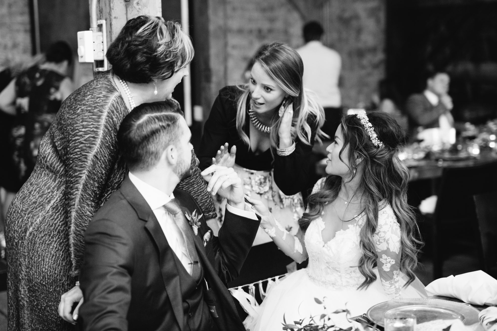Reception Candid Black and White Toronto Wedding Zsuzsi Pal Photography