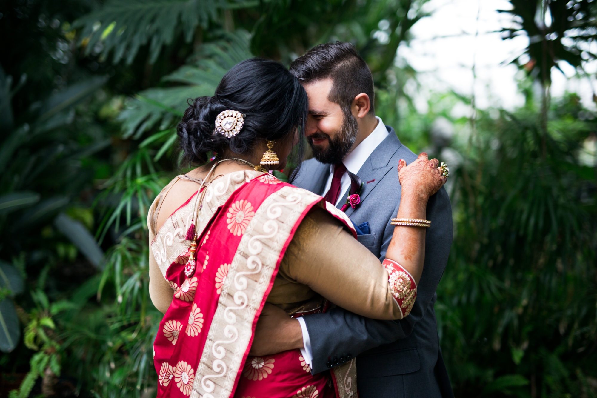 First Look Indian Wedding Red Sari Toronto Wedding Zsuzsi Pal Photography