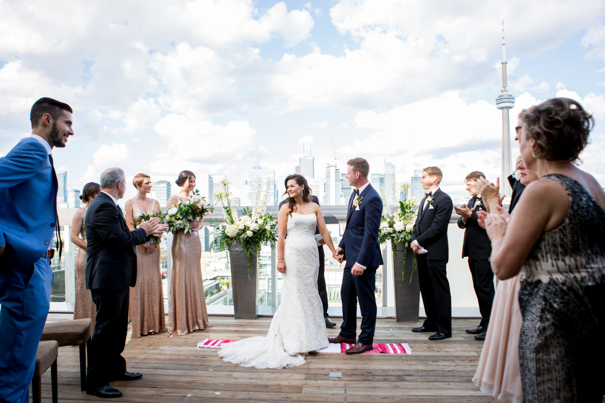 Rooftop Thompson Hotel Ceremony Toronto Wedding Zsuzsi Pal Photography