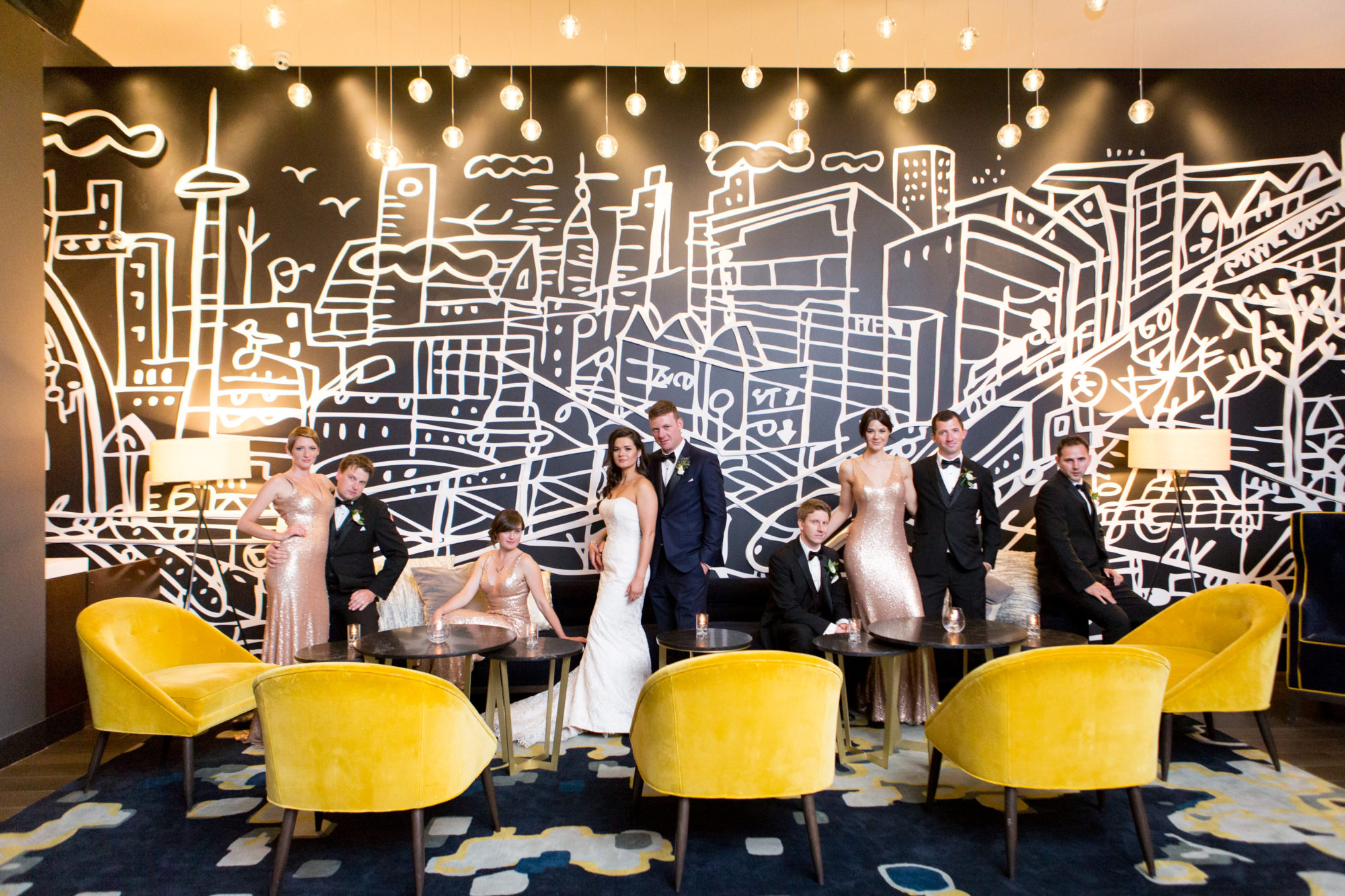 Thompson Hotel lobby Wedding Party Toronto Wedding Zsuzsi Pal Photography