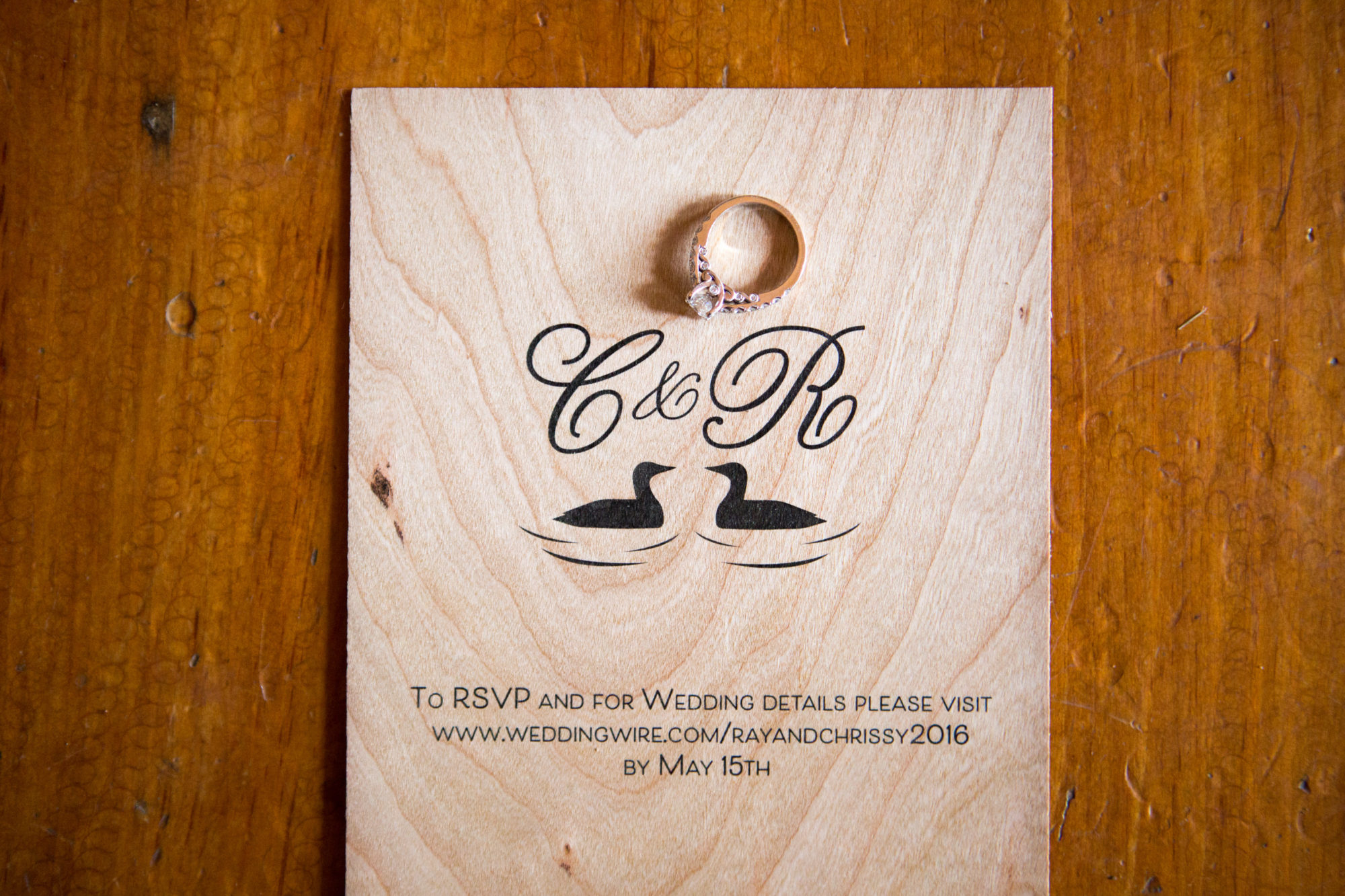 South Pond Farms Zsuzsi Pal Photography Wedding Wood Invite Invitation Ring