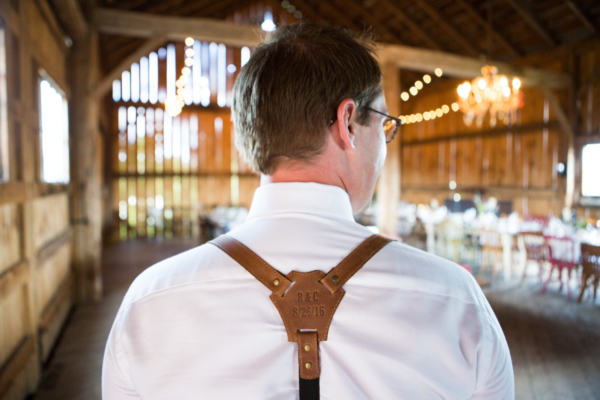 Groom Leather Suspenders South Pond Farms Zsuzsi Pal Photography Wedding