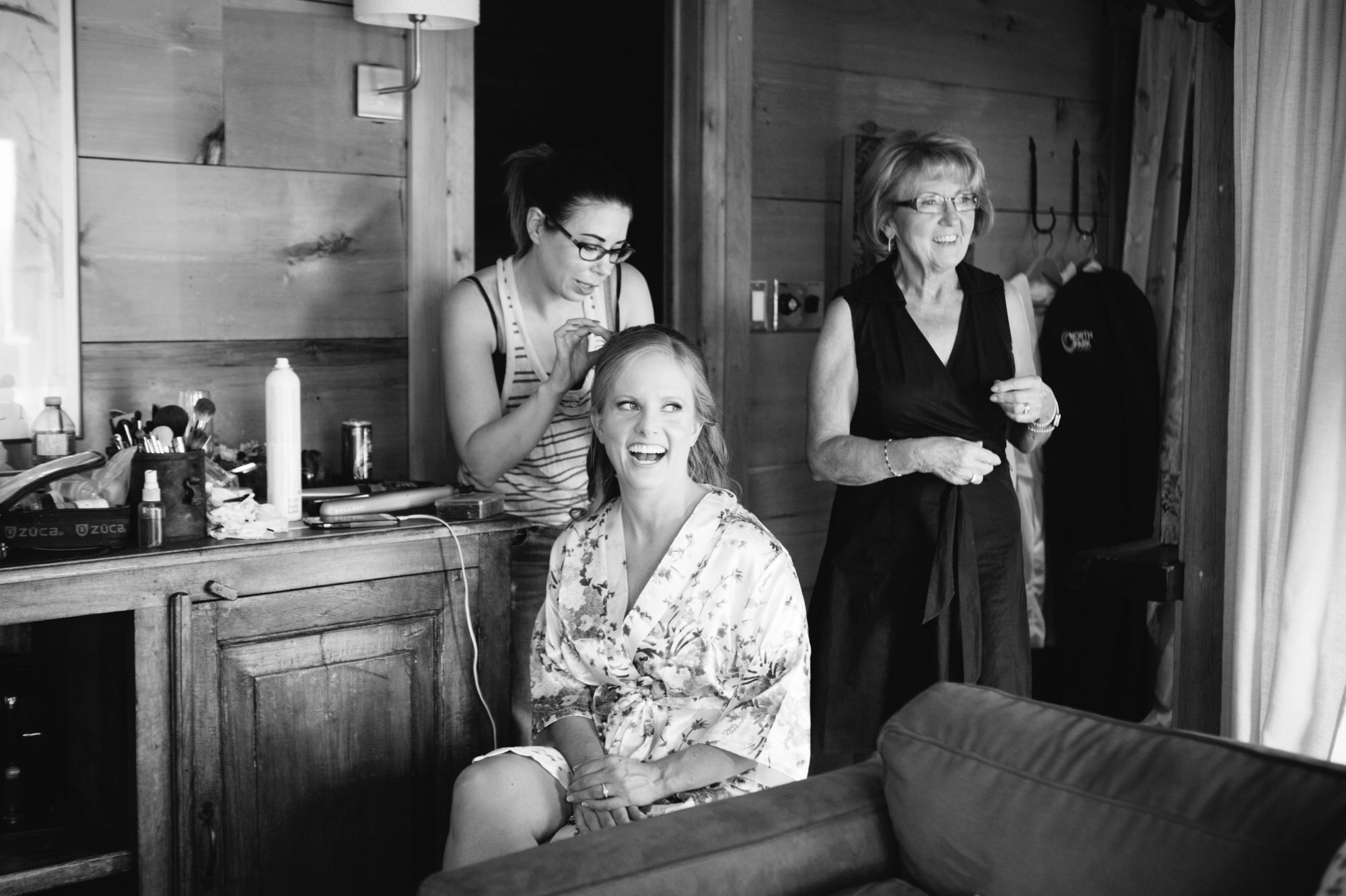 Bride Prep Black and White South Pond Farms Zsuzsi Pal Photography Wedding