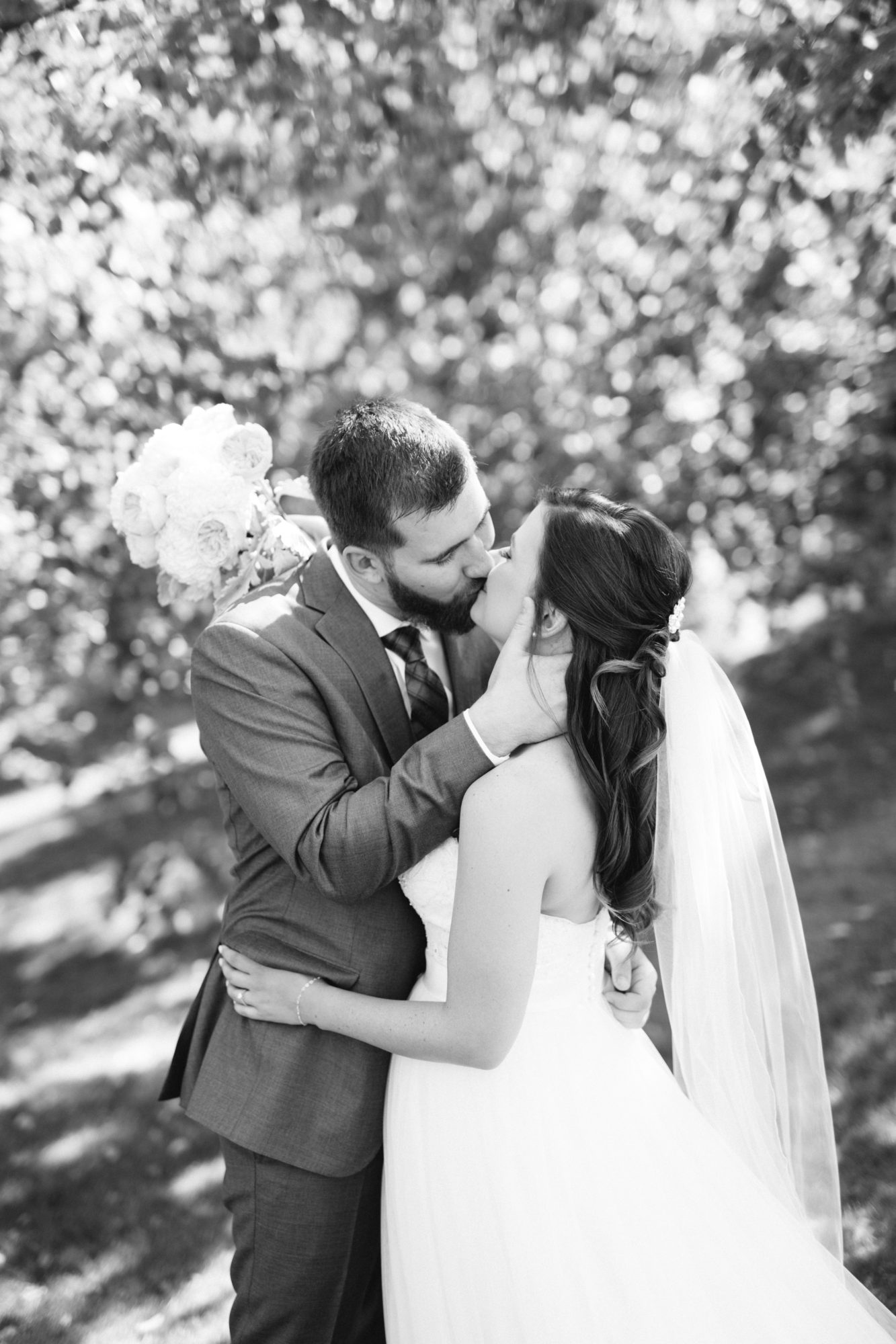 Black and White Bride Groom Kiss Wedding King City Zsuzsi Pal Photography