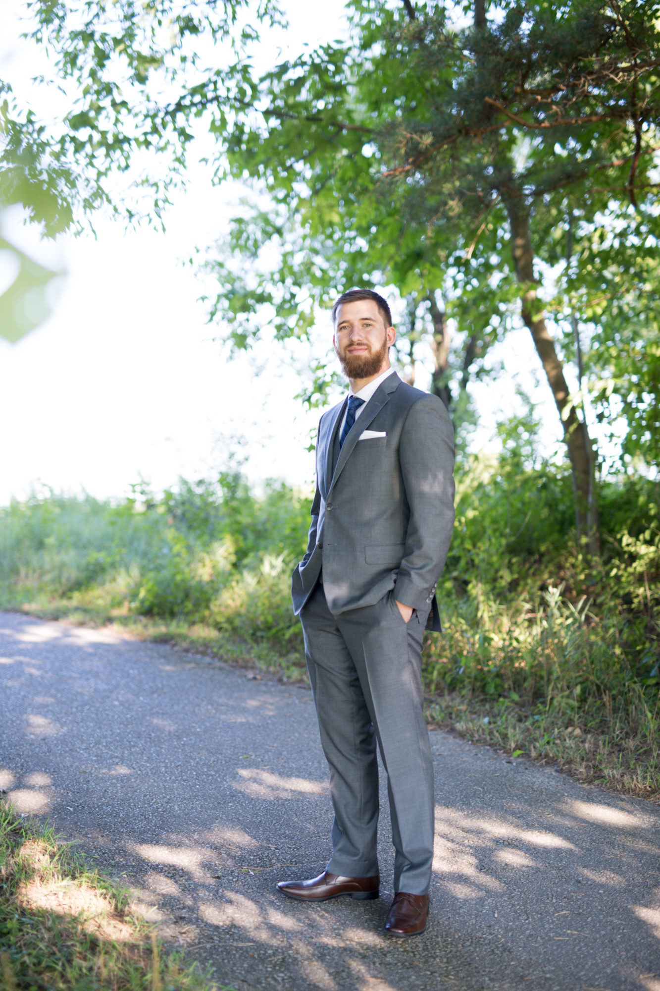 Groom Grey Suit Portrait Golf Course Wedding King City Zsuzsi Pal Photography