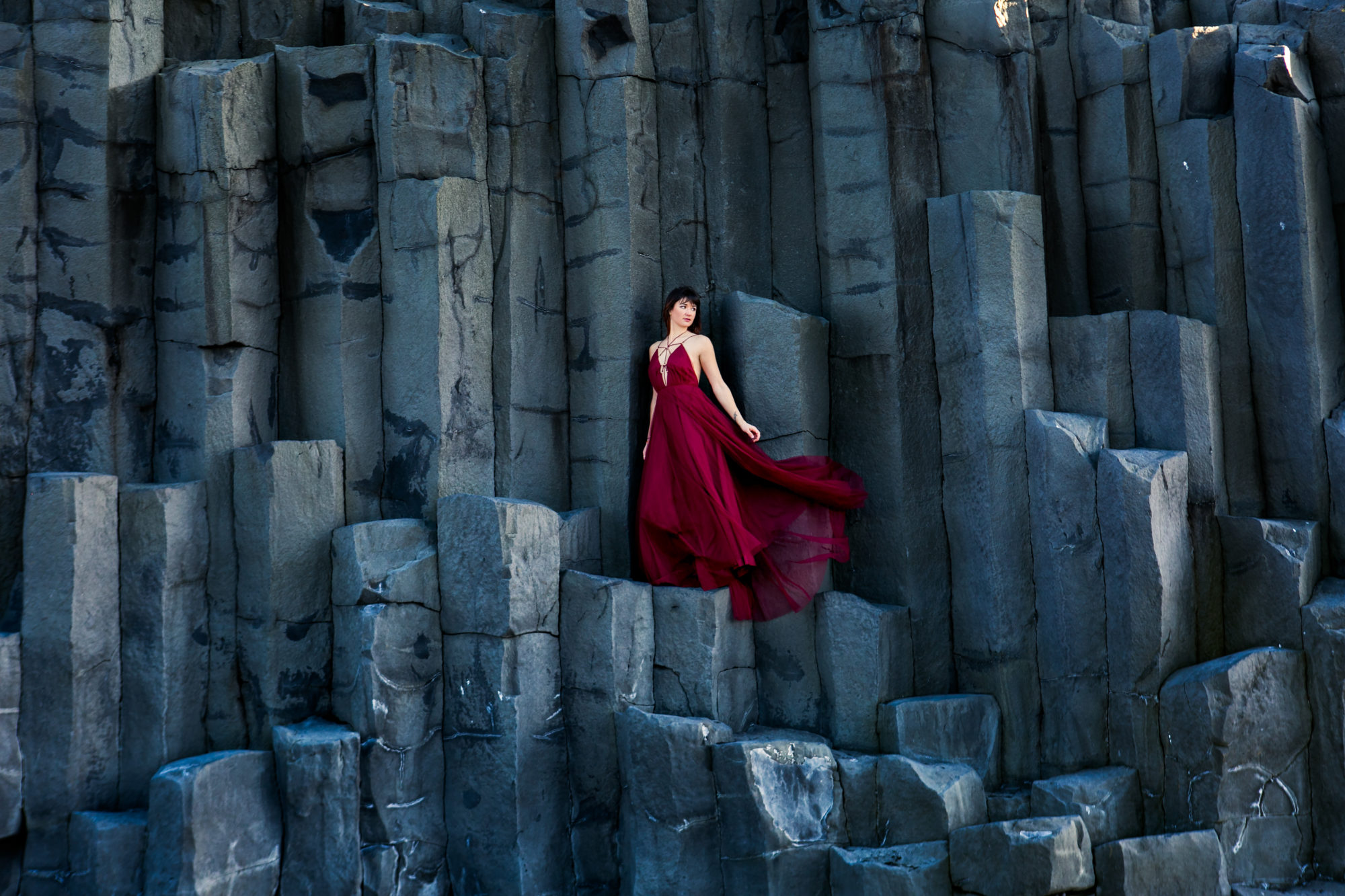 Reynesfjara Vik Iceland Black Sand Beach Red Dress Zsuzsi Pal Photography