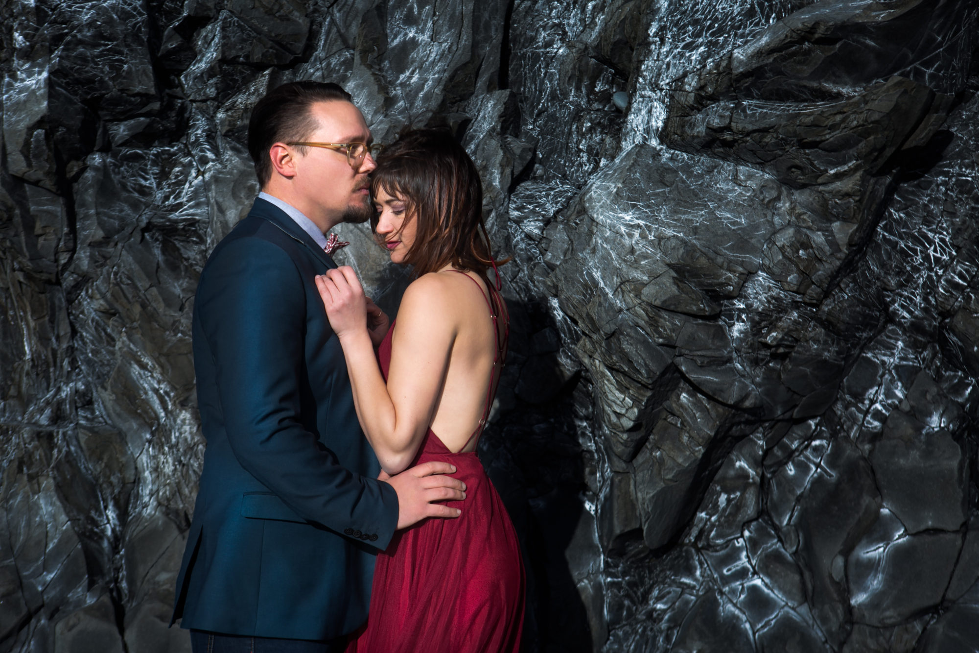 Couple Cliff Engagement Blue Rocks Reynesfjara Vik Iceland Black Sand Beach
