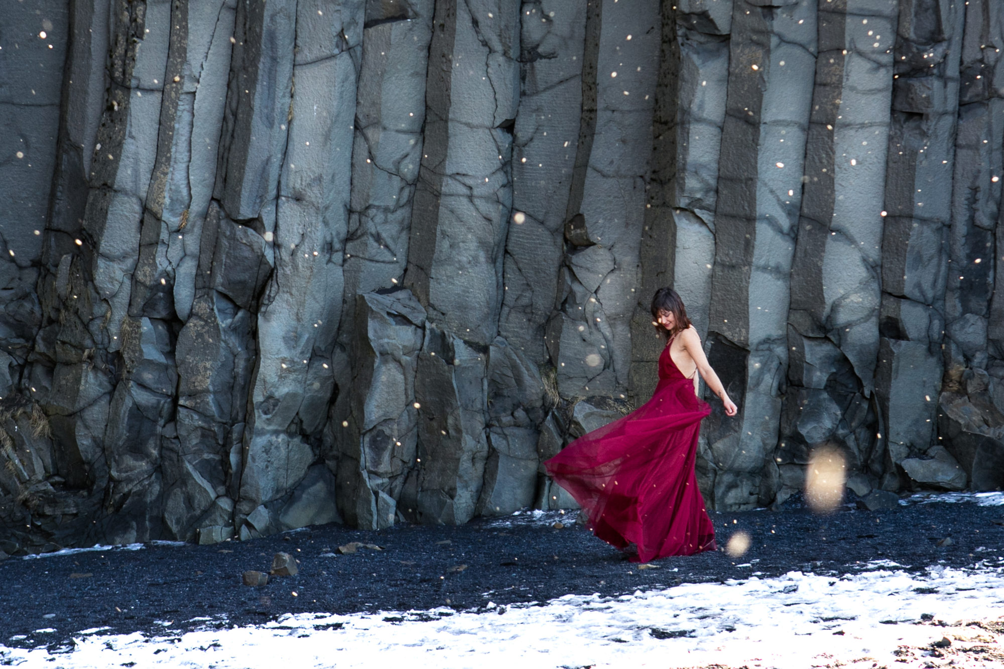 Snow Red Dress Reynesfjara Vik Iceland Black Sand Beach Zsuzsi Pal Photography