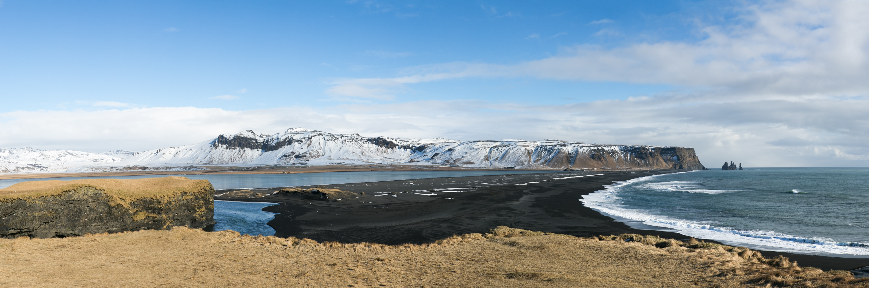 Reynisfjara Black Sand Beach Panoramic Reykjavik Iceland Zsuzsi Pal Photography