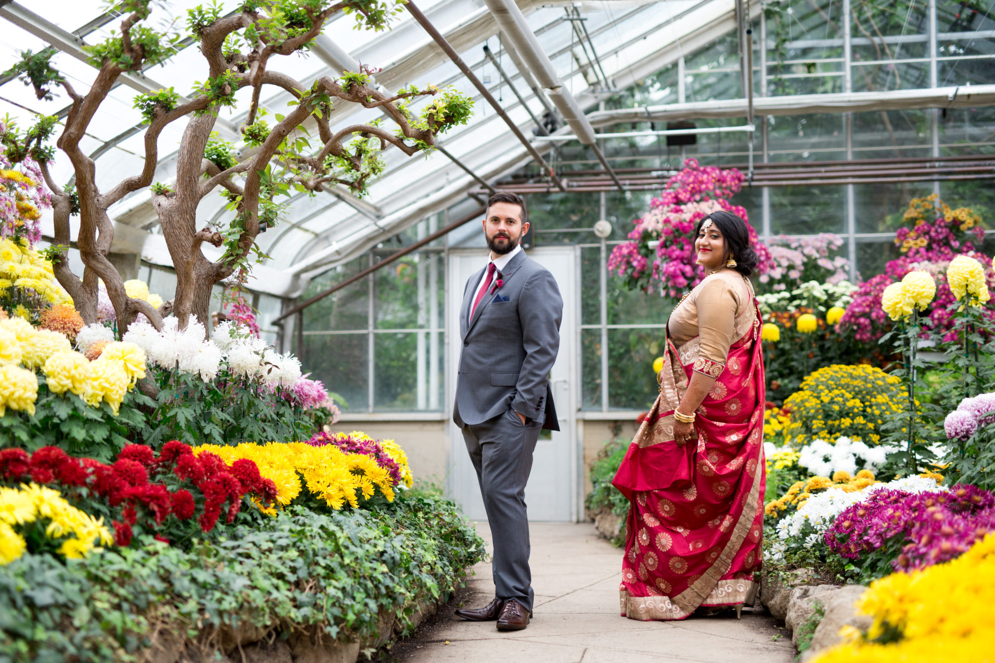 Greenhouse Portrait Bride Groom Indian Wedding Zsuzsi Pal Photography