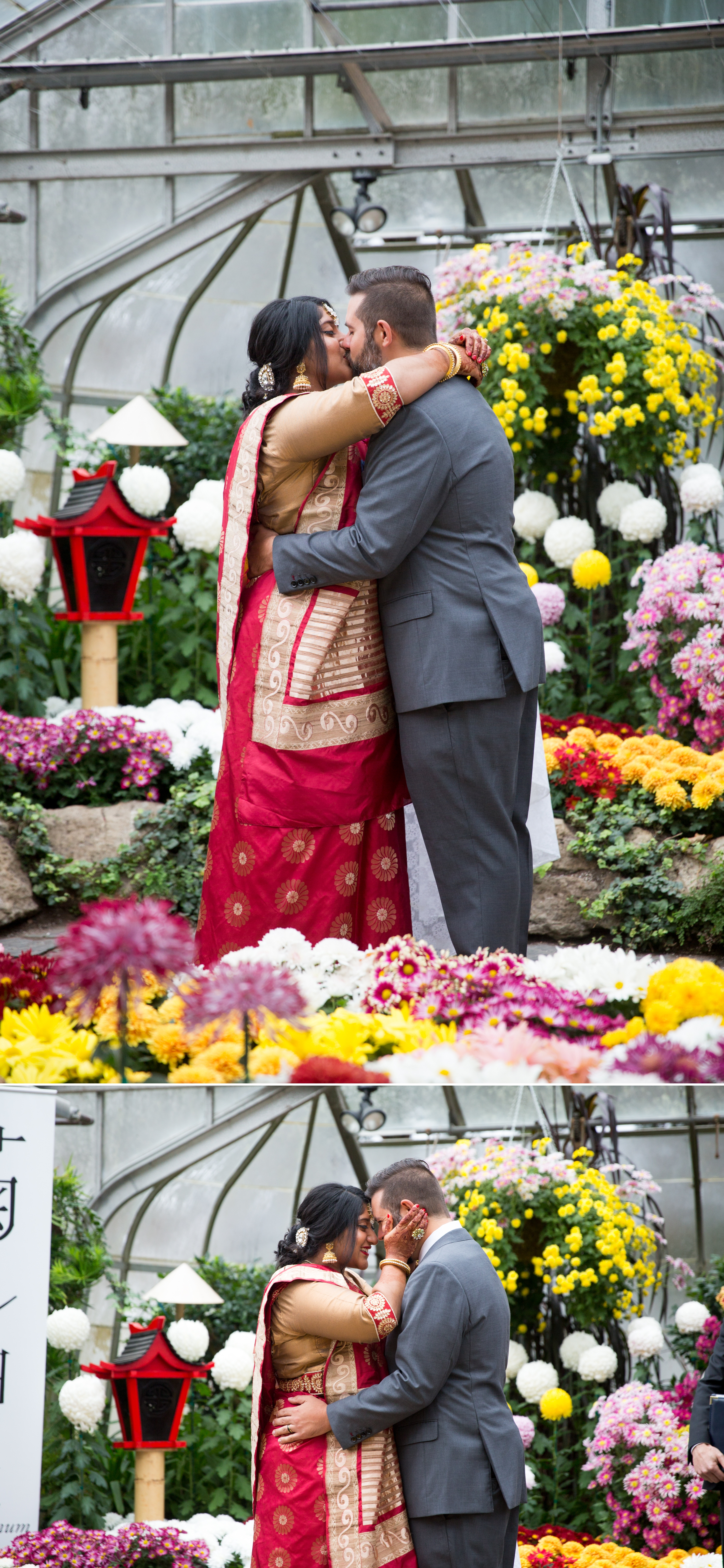 Ceremony Kiss Centennial Greenhouse Indian Wedding Zsuzsi Pal Photography