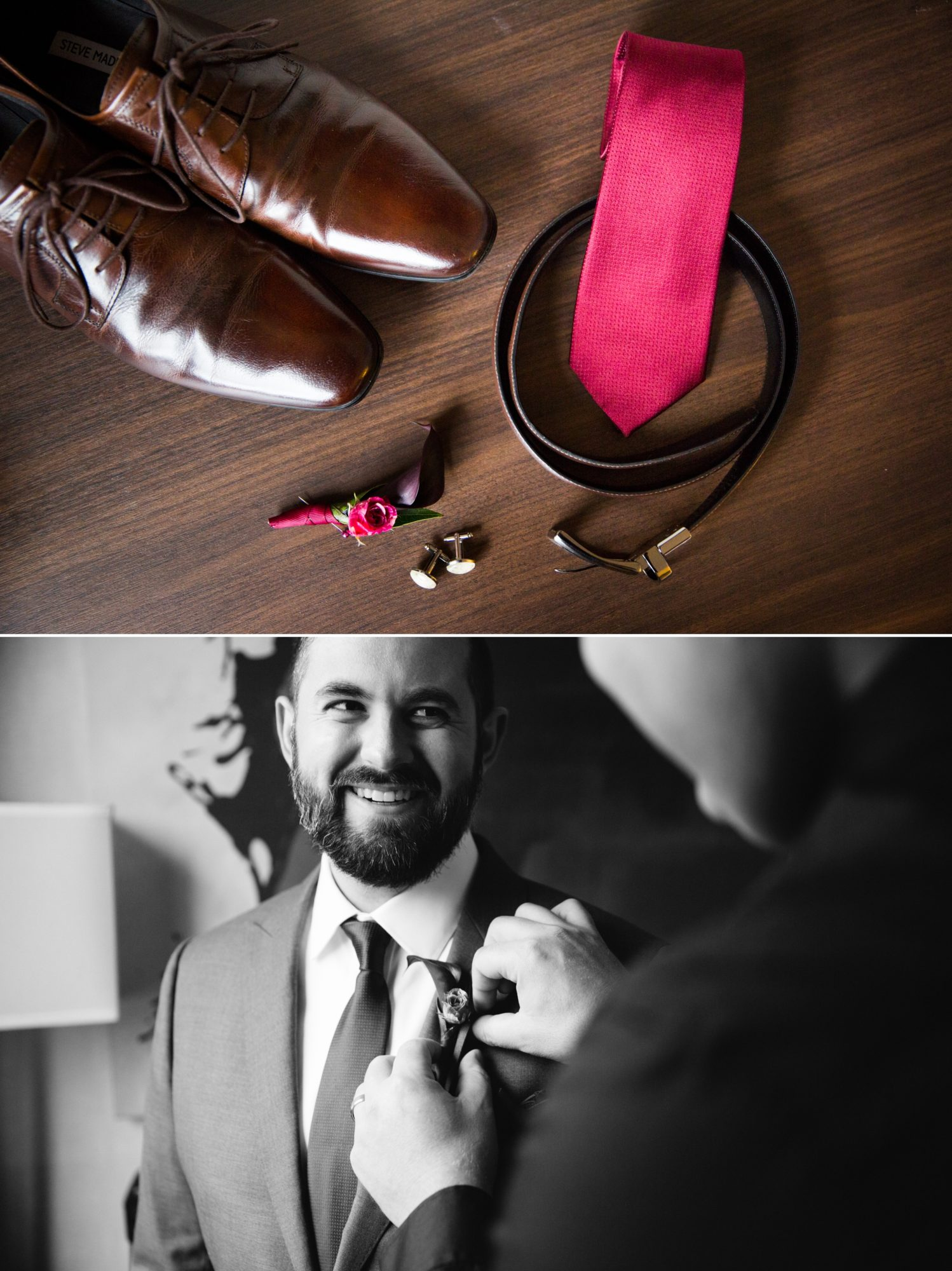 Toronto Groom Prep Tie Boutonniere Indian Wedding Zsuzsi Pal Photography