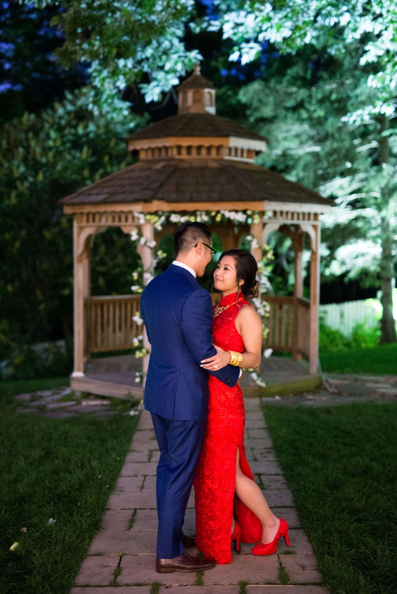 Gazebo Night Shot Toronto Chinese Korean Wedding Zsuzsi Pal Photography