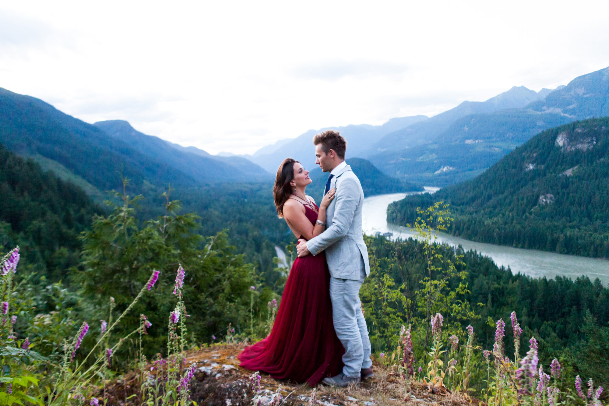 Mountain Top Engagement Wedding Hope British Columbia Zsuzsi Pal Photography Red Dress